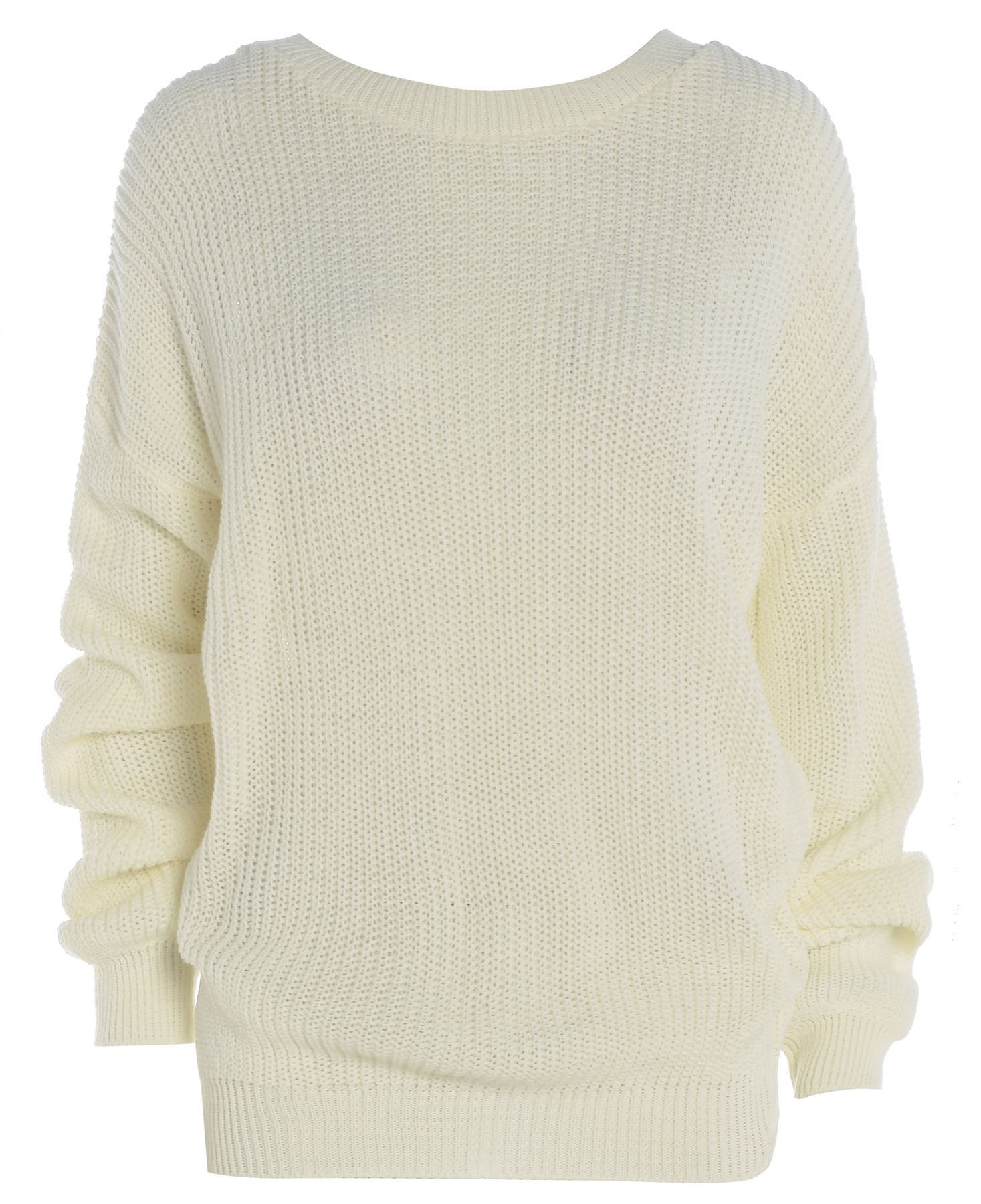 New Ladies Womens Plain Oversized Baggy Knitted Jumper Chunky Sweater Top Rib...