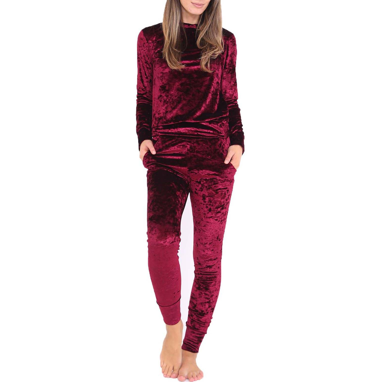 Ladies Kids Crushed Velvet Lounge Suit Sweatshirt Womens Lounge ...