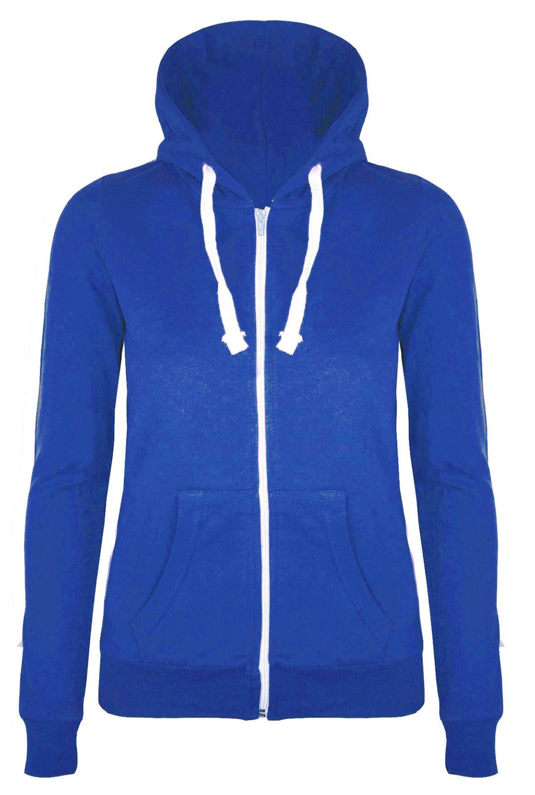 Girls Womens Plain Malaika Hoodie Hoody Hooded Zip Sweatshirt ...