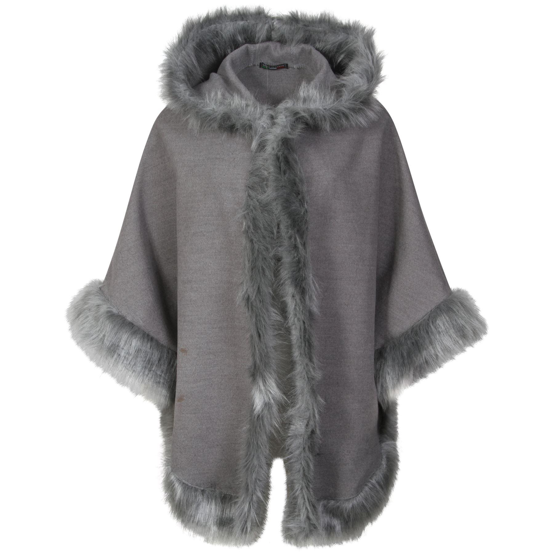 Women Faux Fur Poncho Cape Trim Hooded Celeb Jacket ...