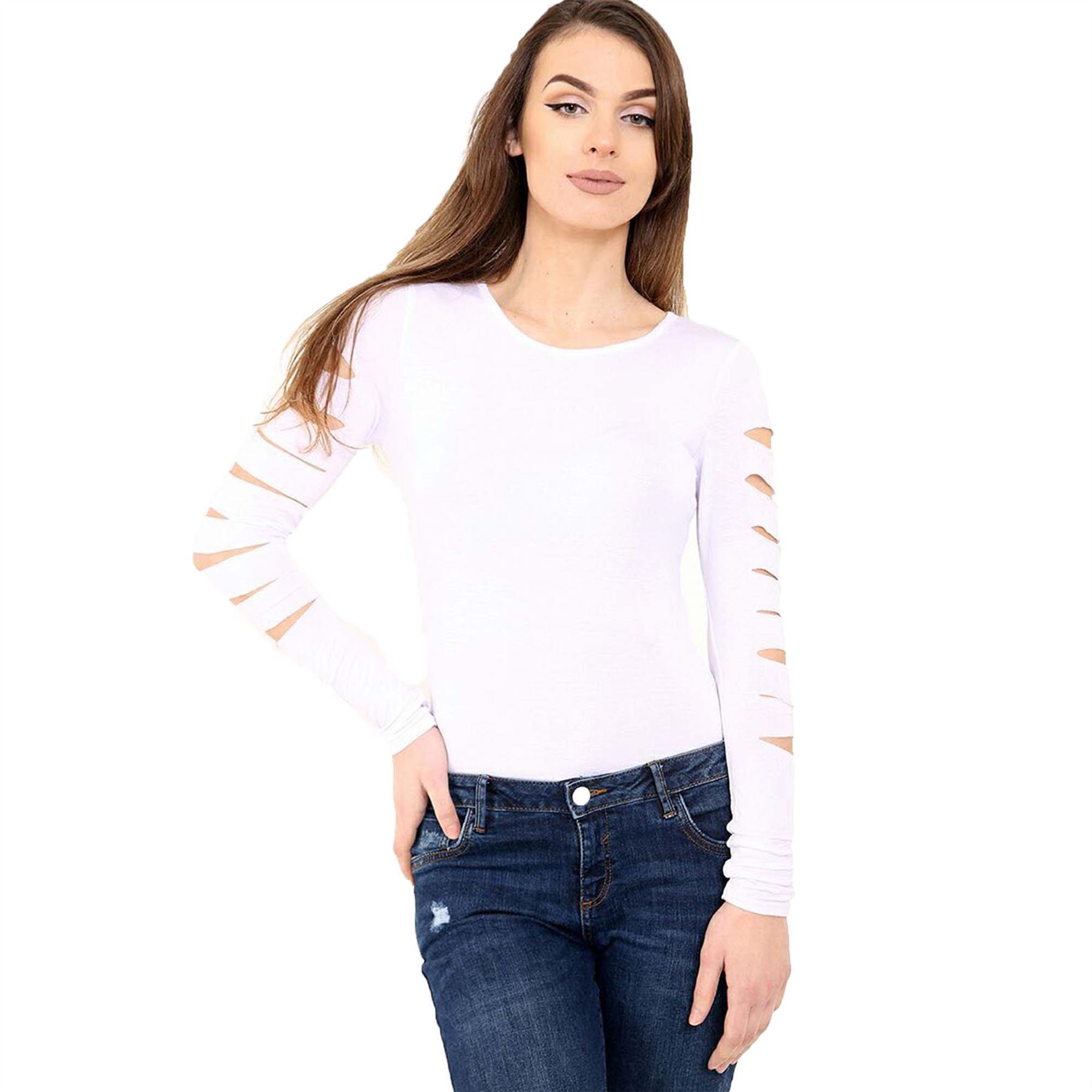 Womens distressed long sleeve bodysuit ladies ripped for French cut shirt sleeve