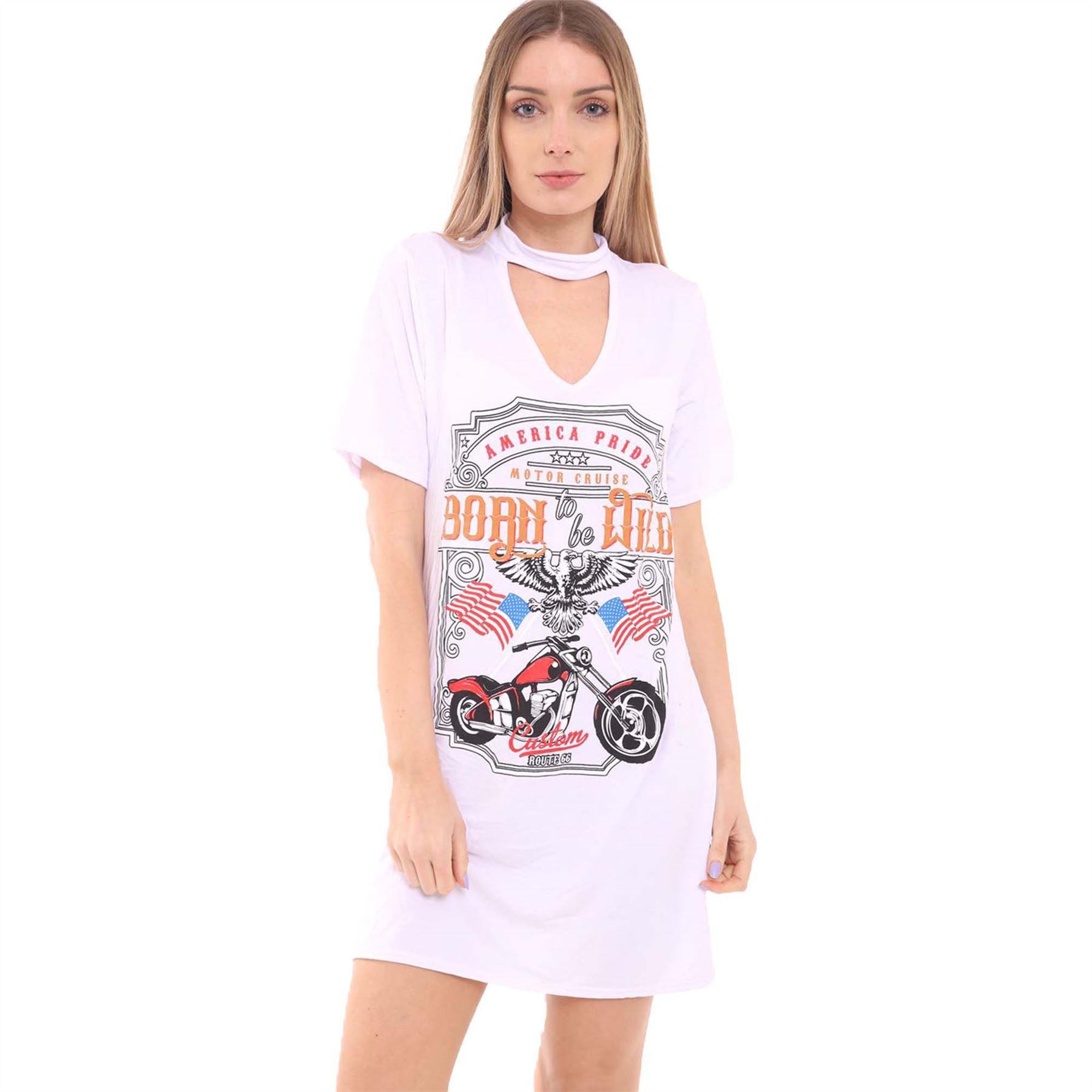 New ladies choker v neck slogan print top womens oversized for Best v neck t shirts women s