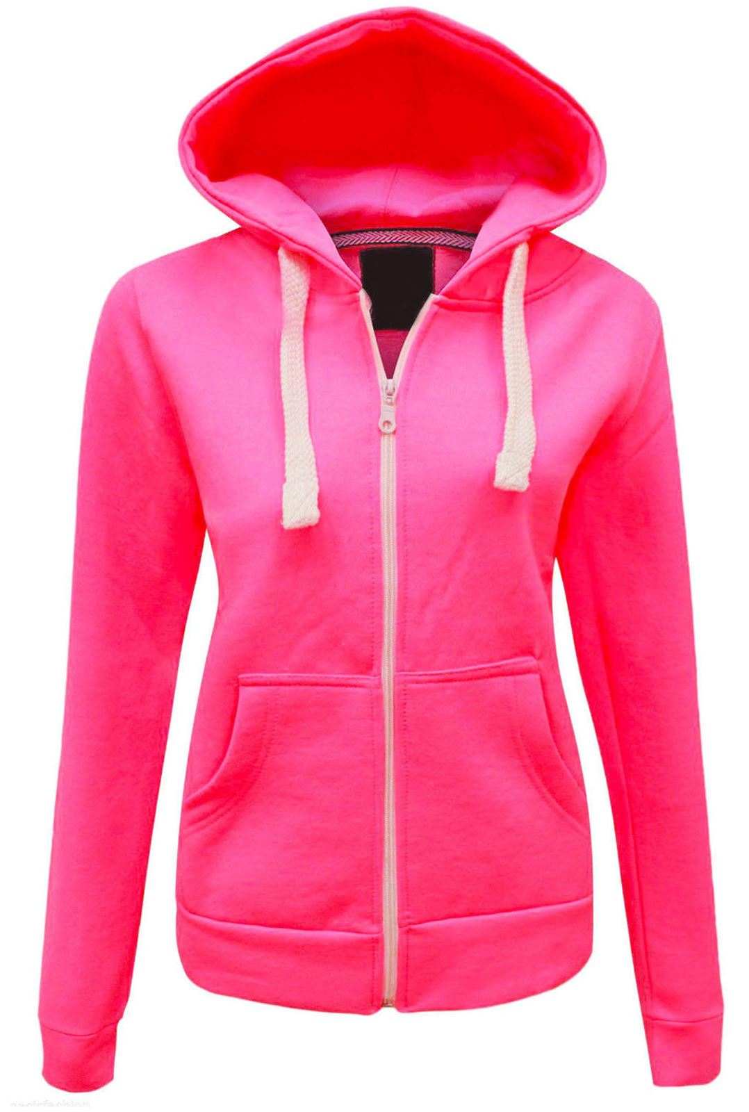 Girls Womens Plain Malaika Hoodie Hoody Hooded Zip ...