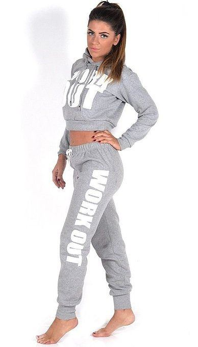 Ladies Work Out Cropped Hoodie Track Suit Jogging Bottoms ...