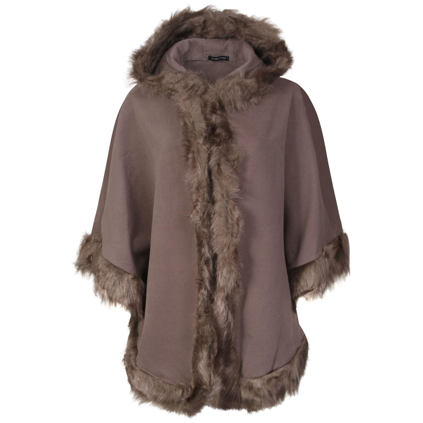 Ladies Trim Hooded Faux Fur Poncho Cape Celeb Jacket Lush