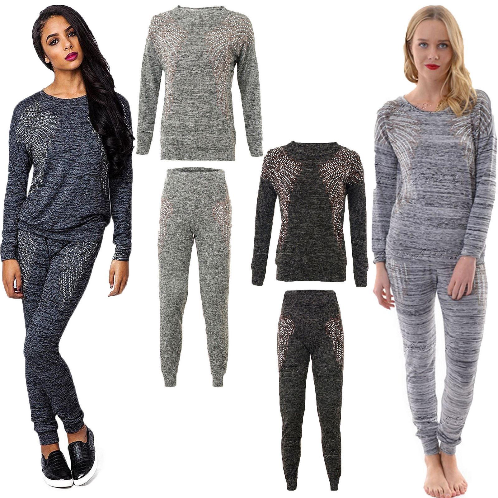 Womens Diamante ANGEL WINGS TRACKSUIT Lounge Set Katie ...