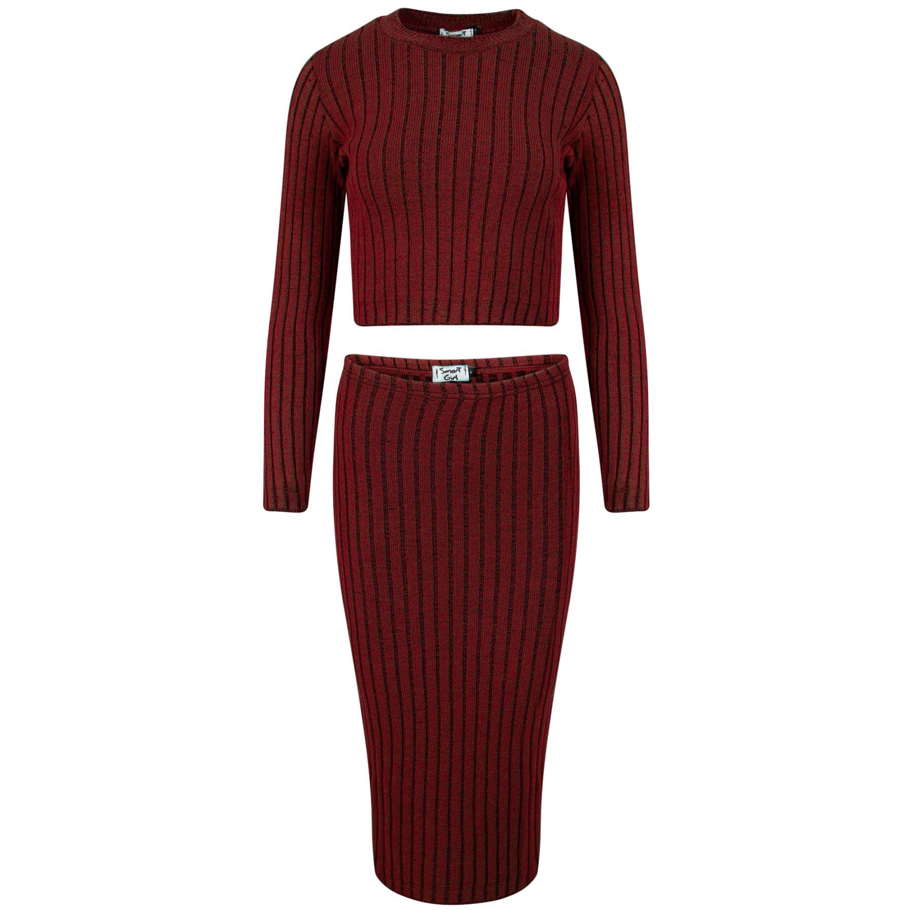 rib knitted midi skirt sleeve crew neck crop