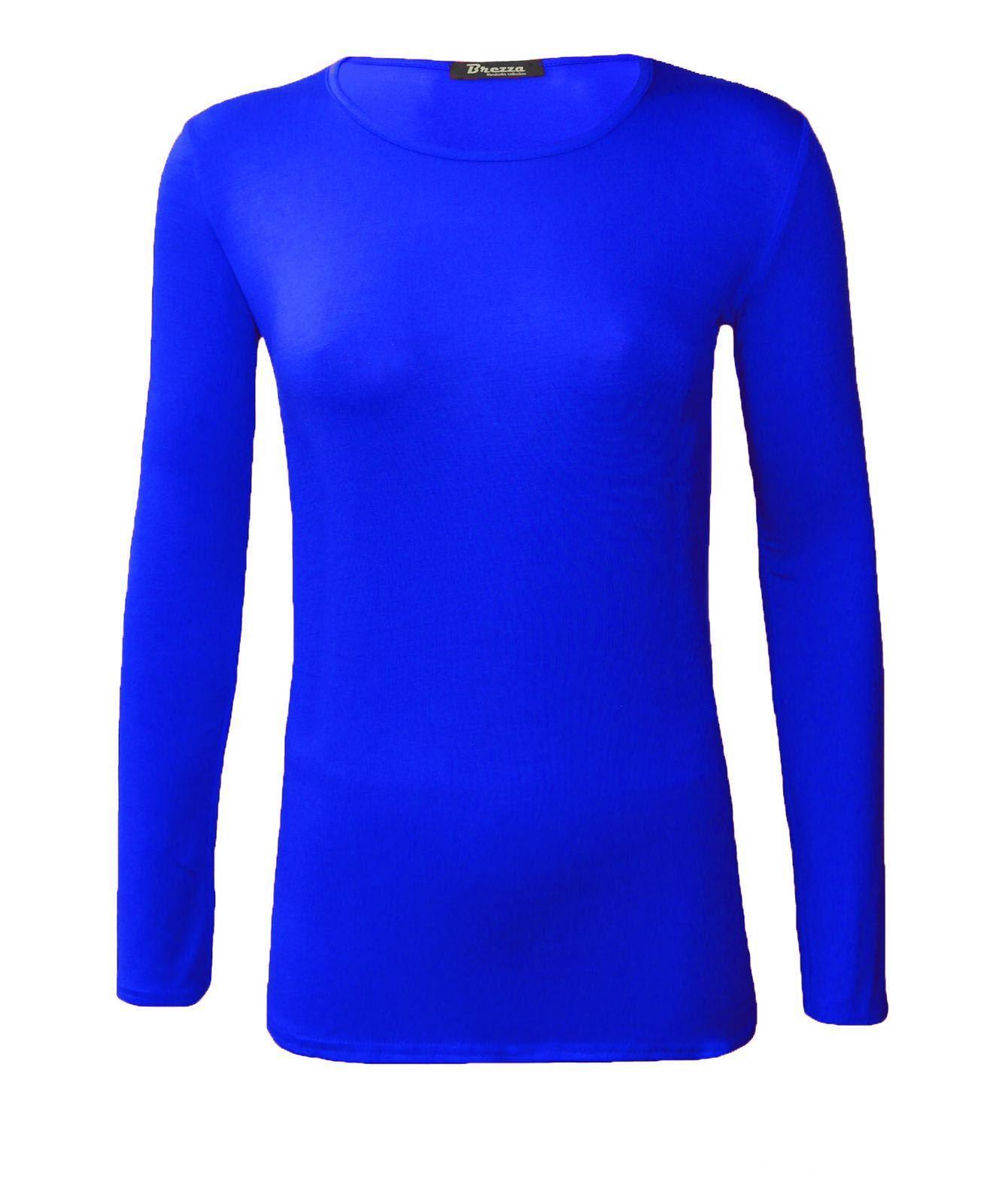 Ladies womens plain basic round neck long full sleeve for Best full sleeve t shirts