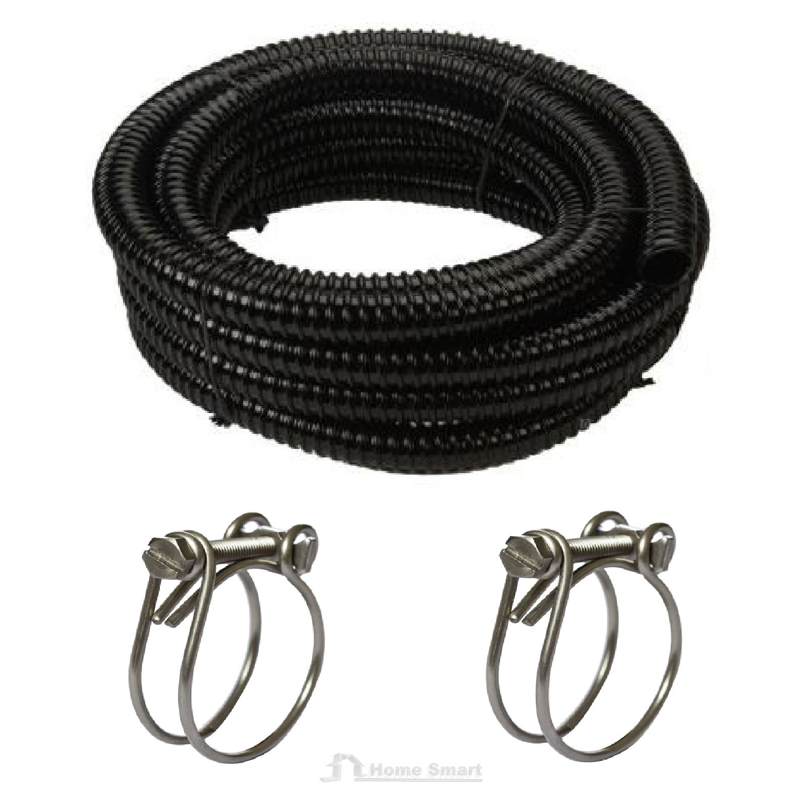 Corrugated flexible garden pond hose with 2 x wire clips for Garden pond hose