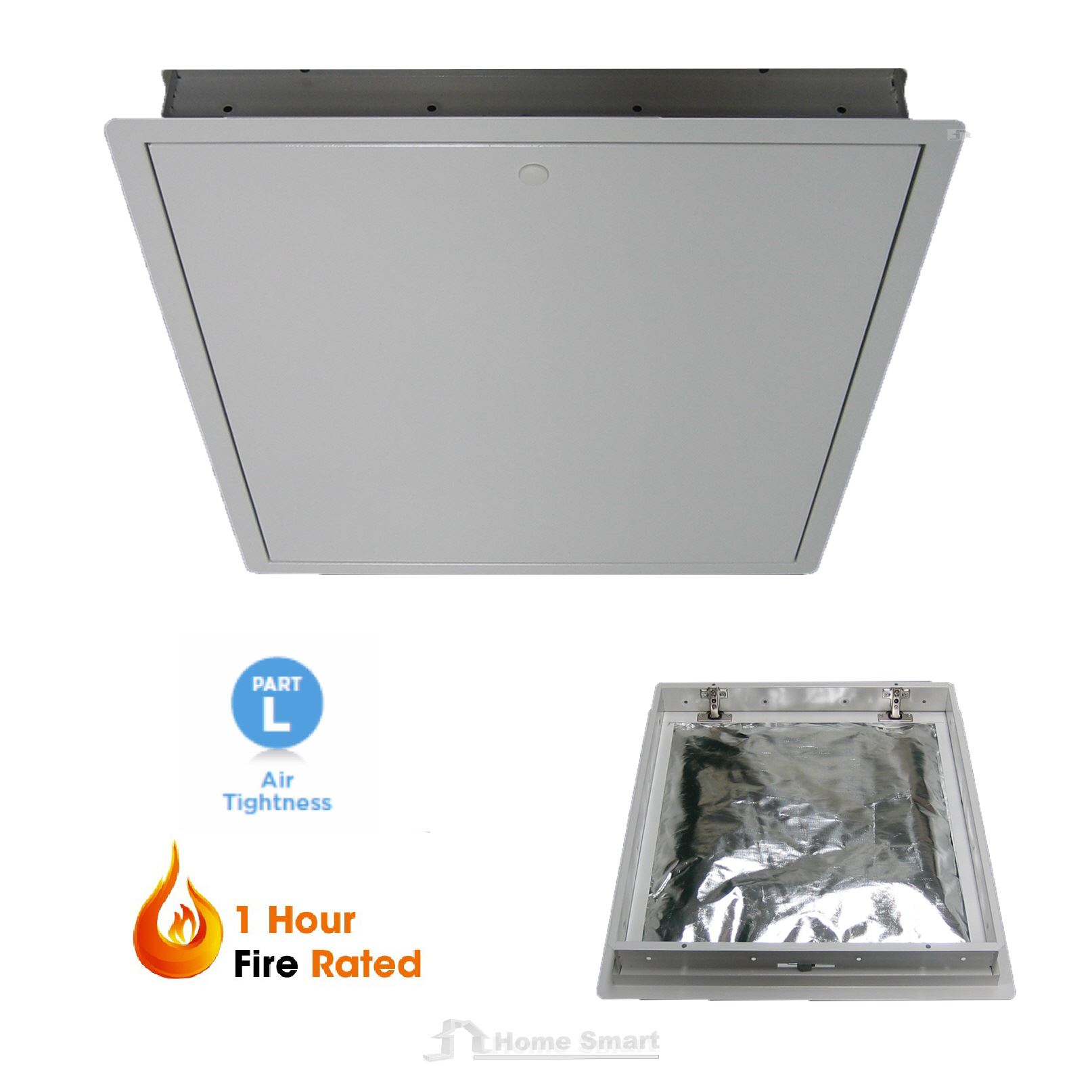 1 hour fire rated 542 x 740 steel loft trap door hinged for 1 hr rated door