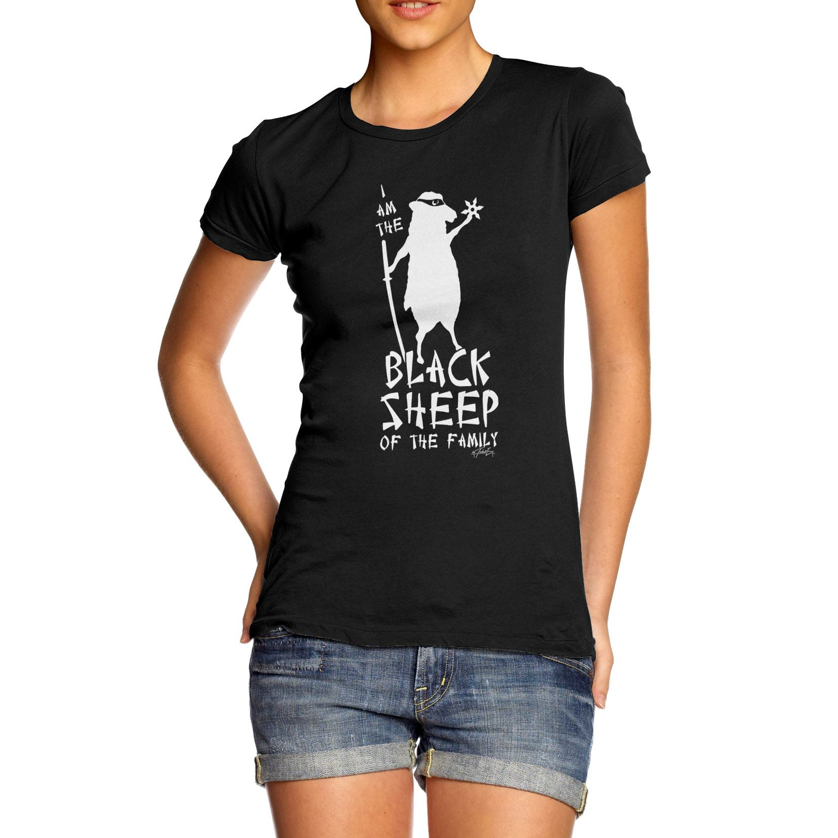 Women Hilarious Design Gift Idea Ninja Black Sheep Funny T-Shirt ...