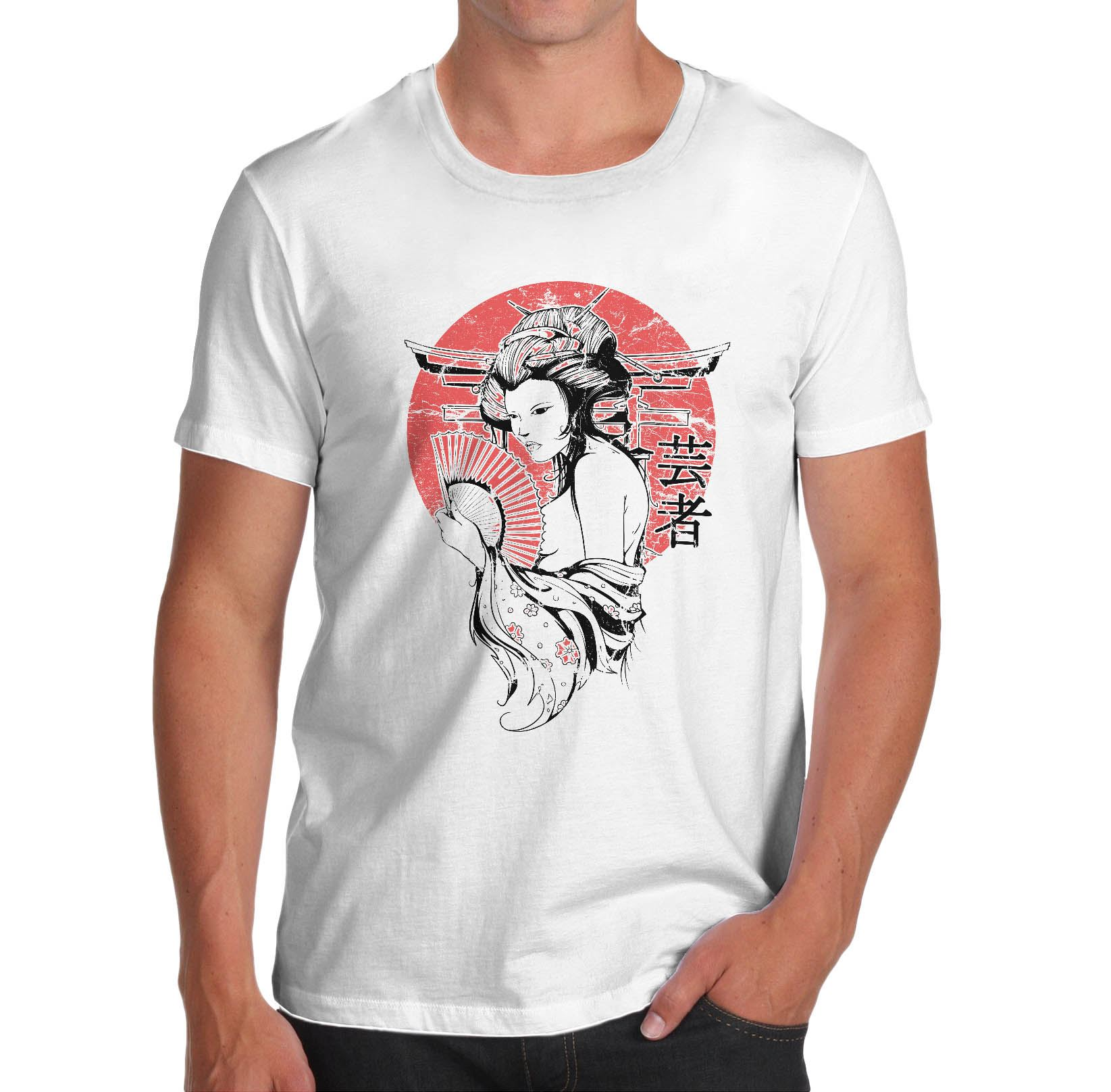mens distress japanese art print t shirt white small ebay. Black Bedroom Furniture Sets. Home Design Ideas