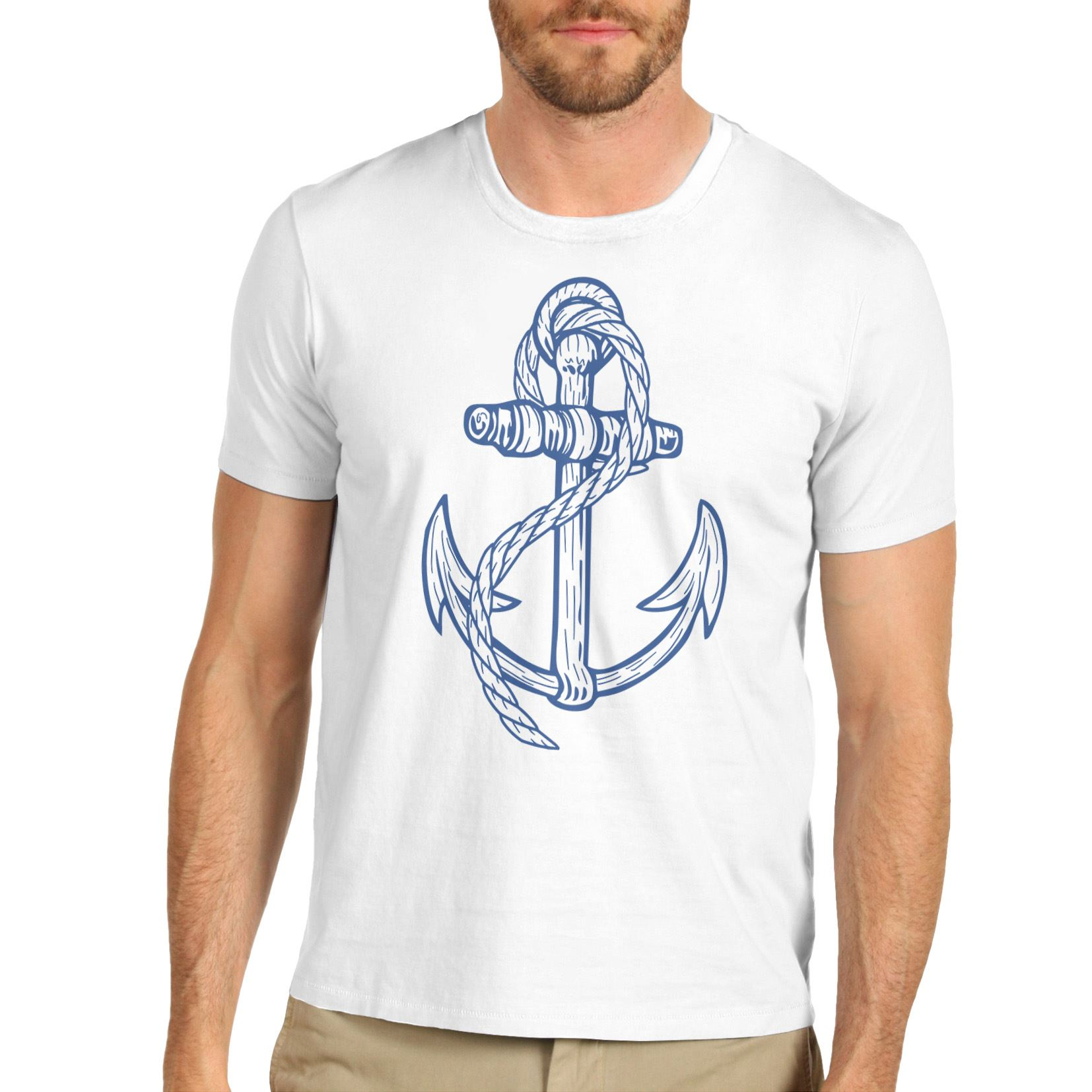 Men Cotton Novelty Design Sailor Navy Theme Anchor T Shirt