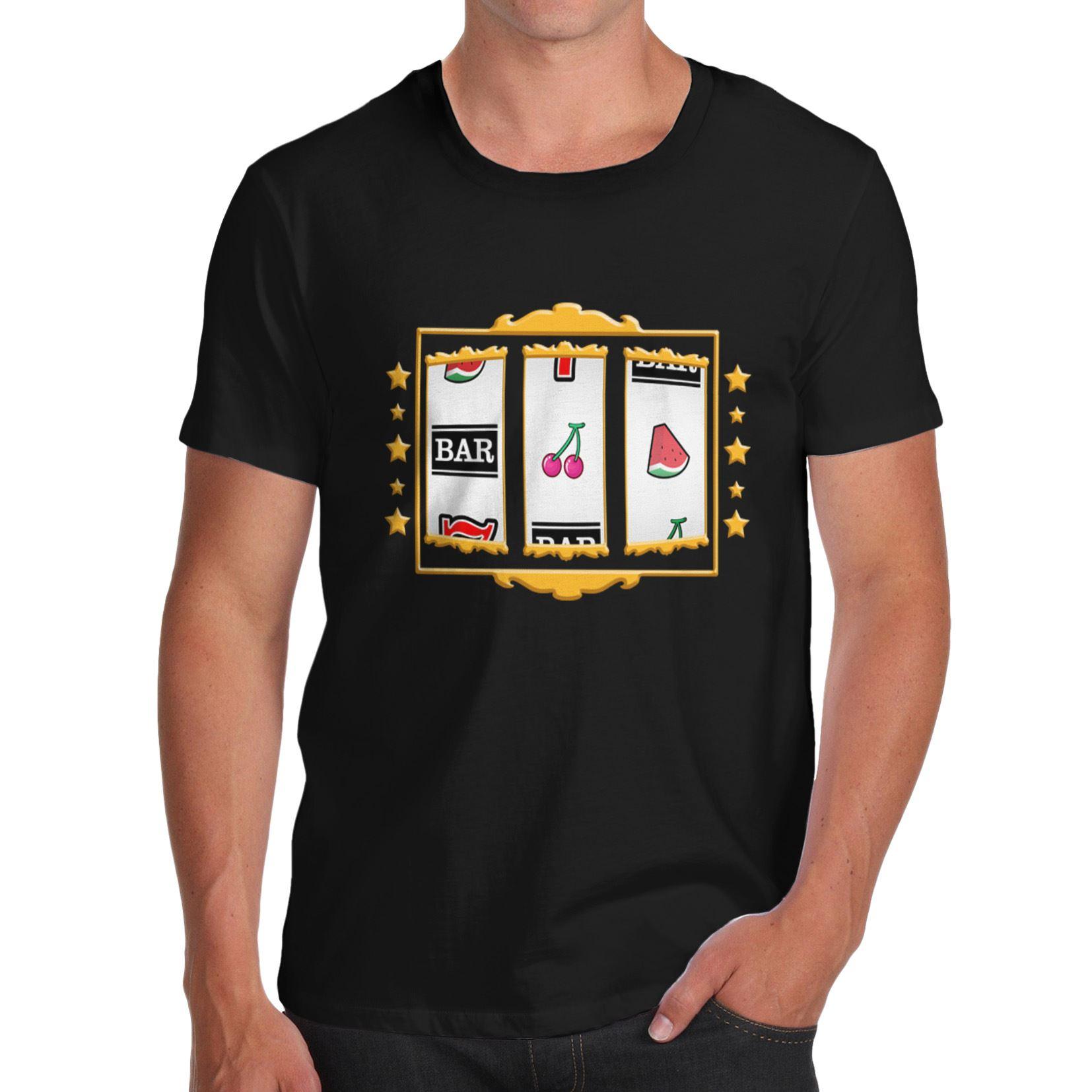 Men cotton novelty casino theme gift idea jackpot machine for Machine to print shirts