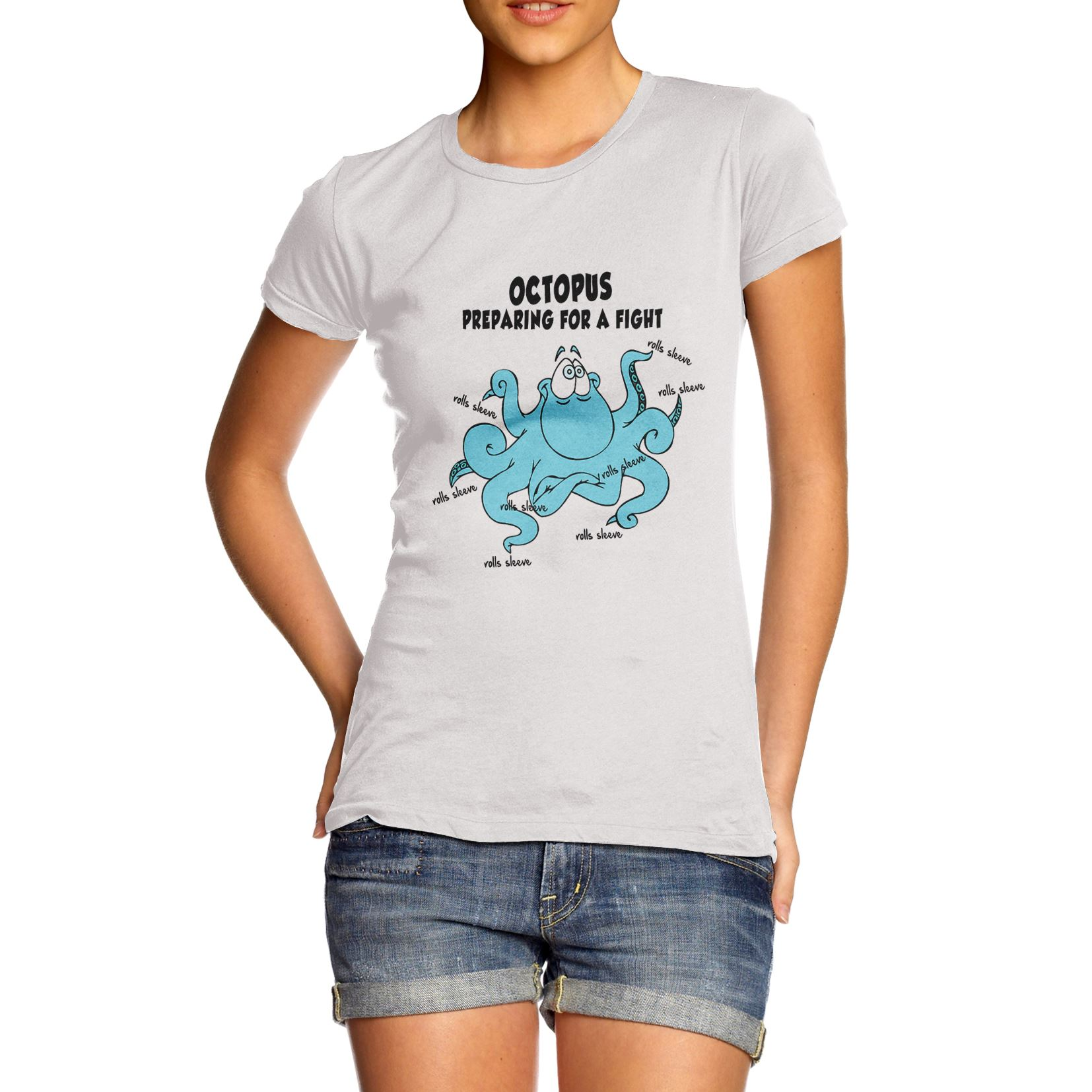 Shirt design octopus - Womens Cotton Novelty Funny Design Octopus Preparing For