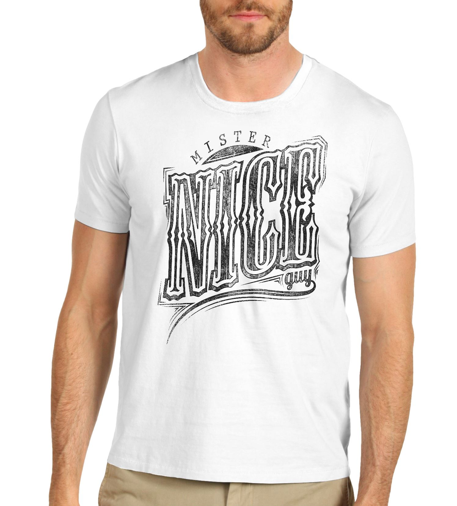 Mens Mister Nice Guy Funny Distress T Shirt White Large