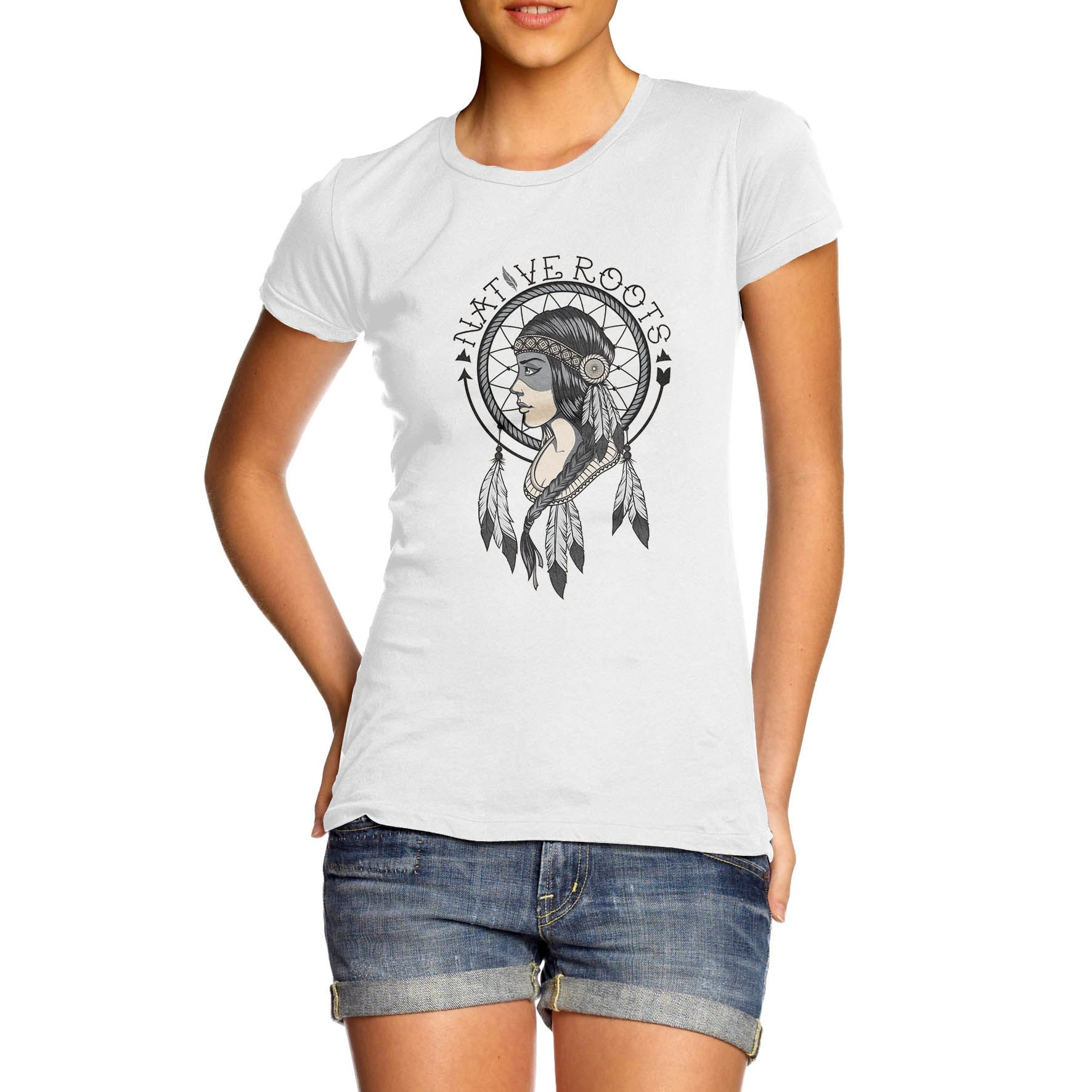Womens Graphic Print Native Roots American Indian T Shirt