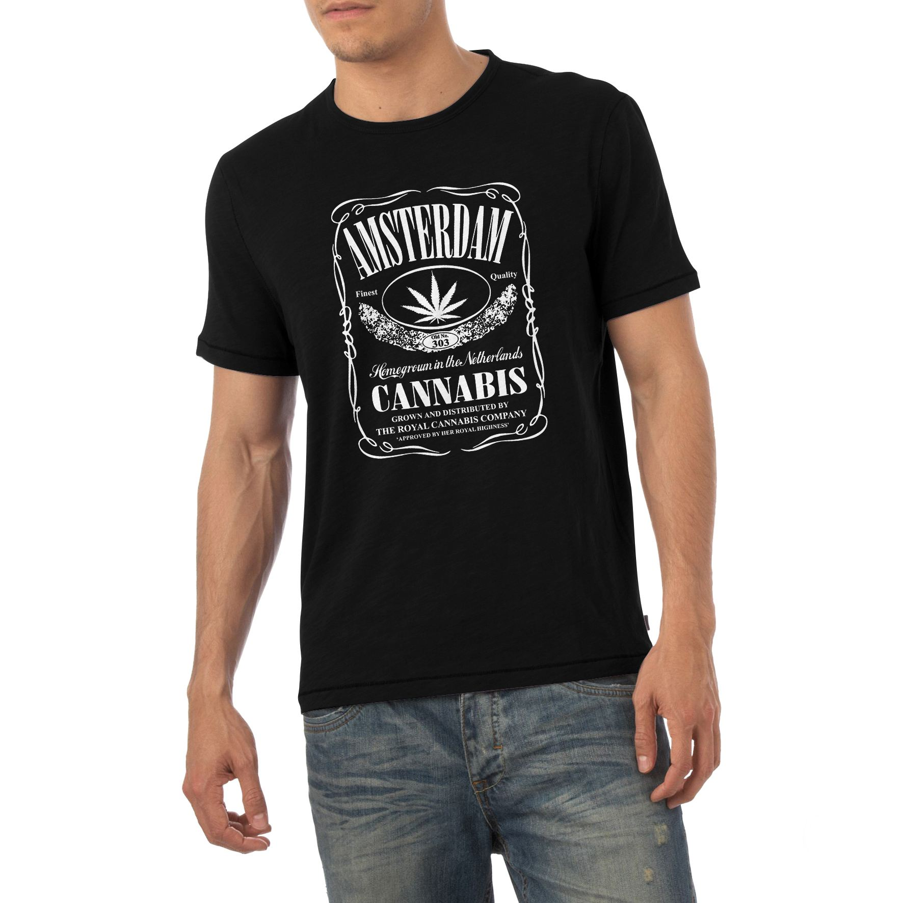 Mens amsterdam royal cannabis company printed graphic t for Graphic t shirt printing company