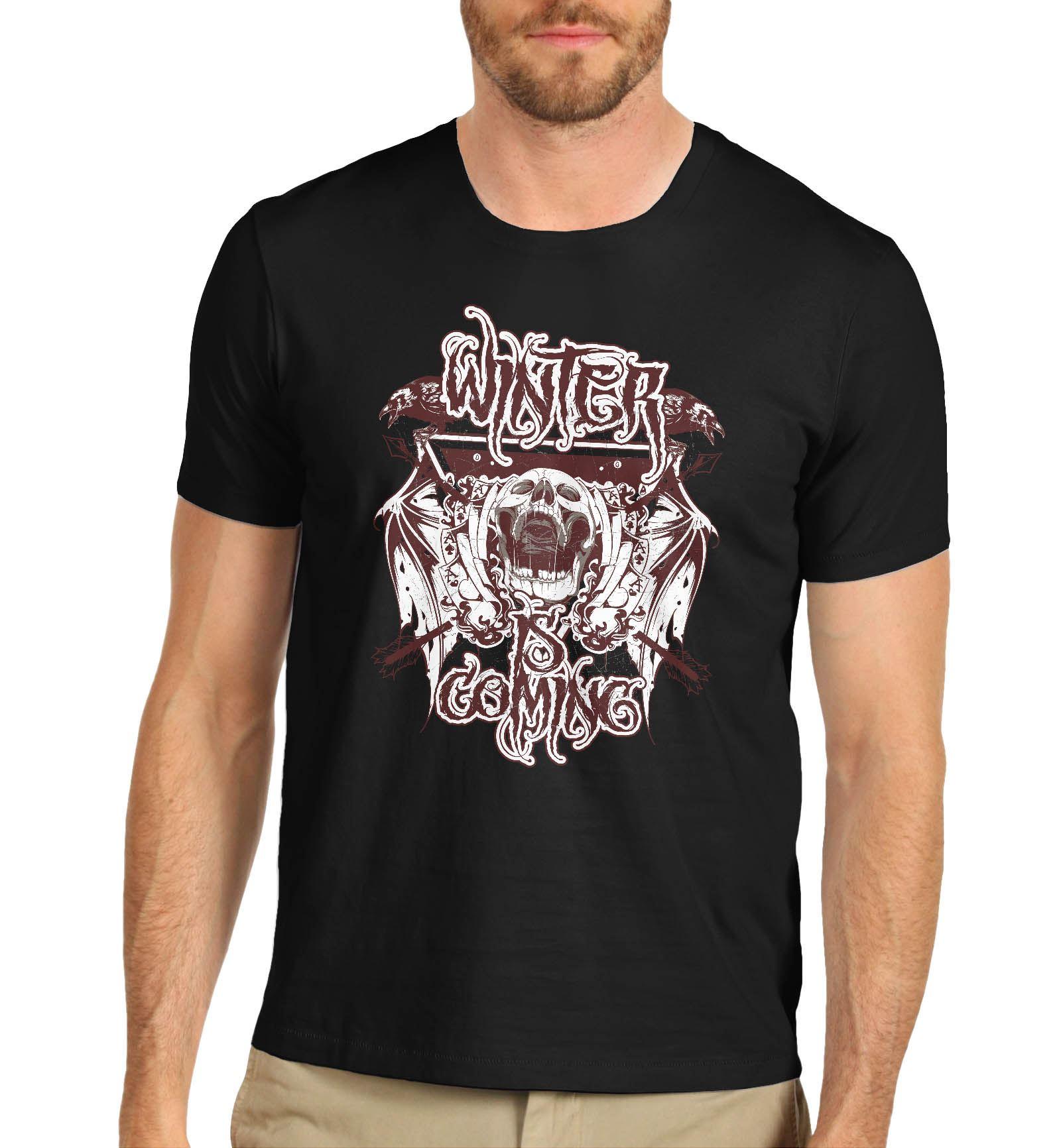 mens gothic skull distress print winter is coming t shirt black large