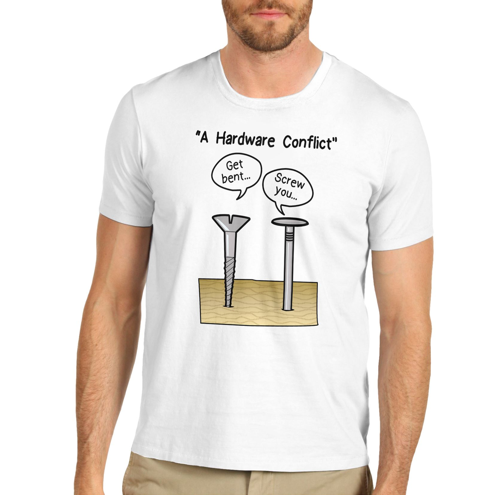 Mens Cotton Funny Novelty Gift Joke Hardware Conflict T