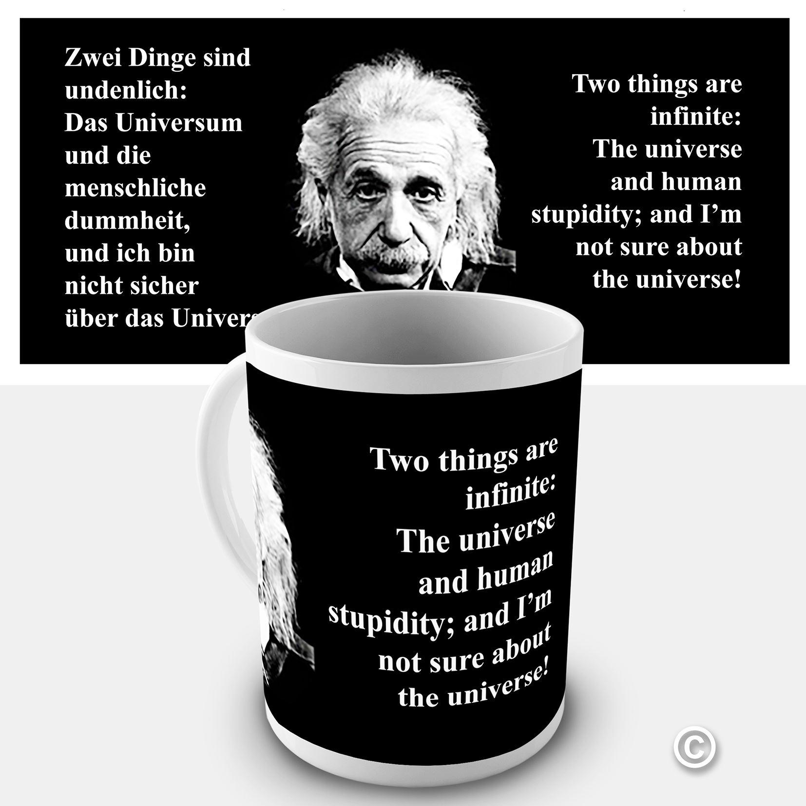 Einstein Quotes: Einstein Quote Coffee Mug The Universe And Human Stupidity