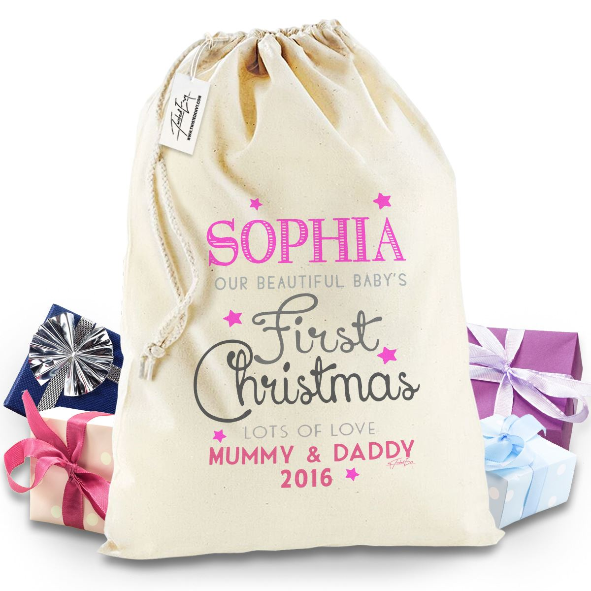 Baby Gift Sack : Personalised baby s first christmas pink santa sack