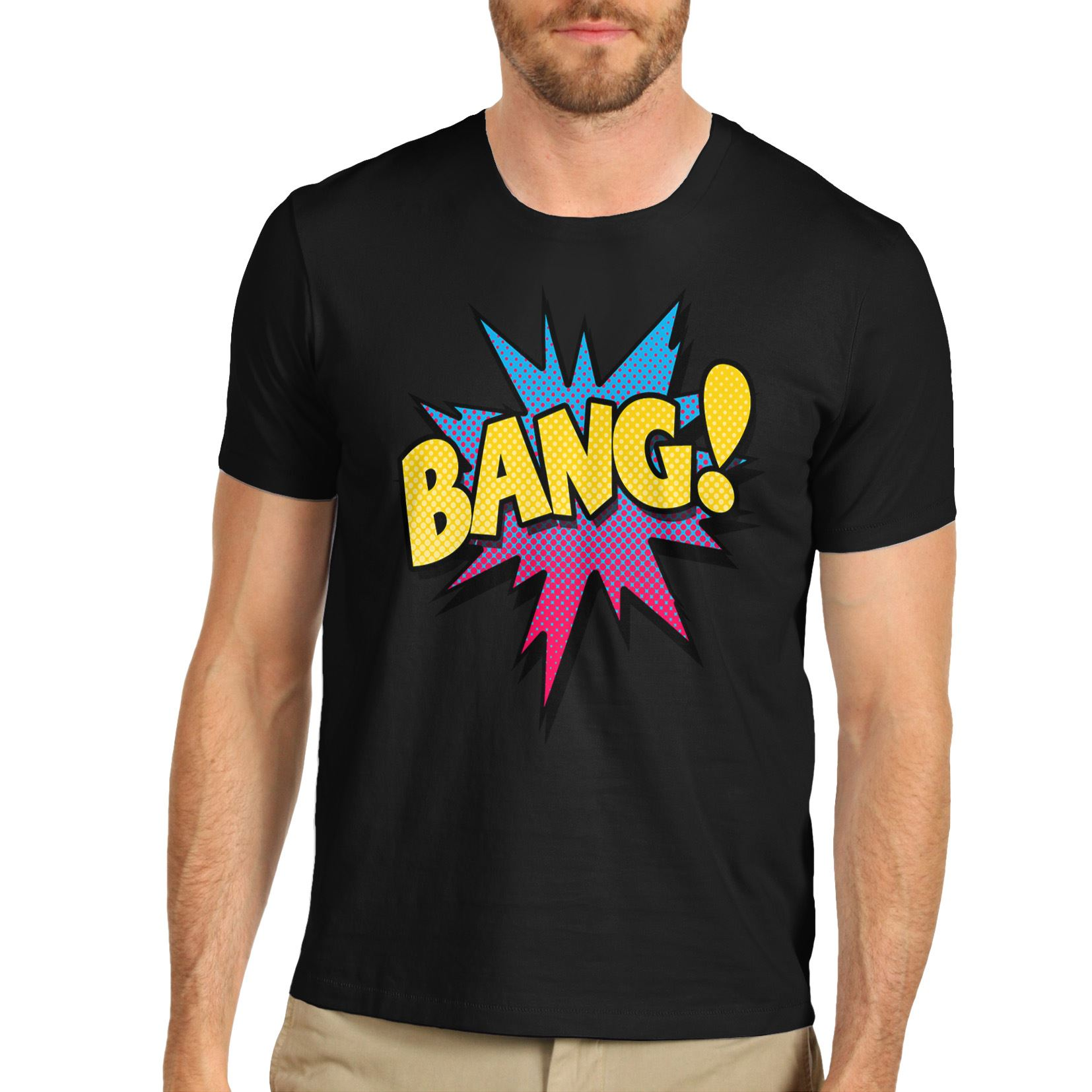 Men cotton novelty comic book theme bang print t shirt ebay for Books printed on t shirts