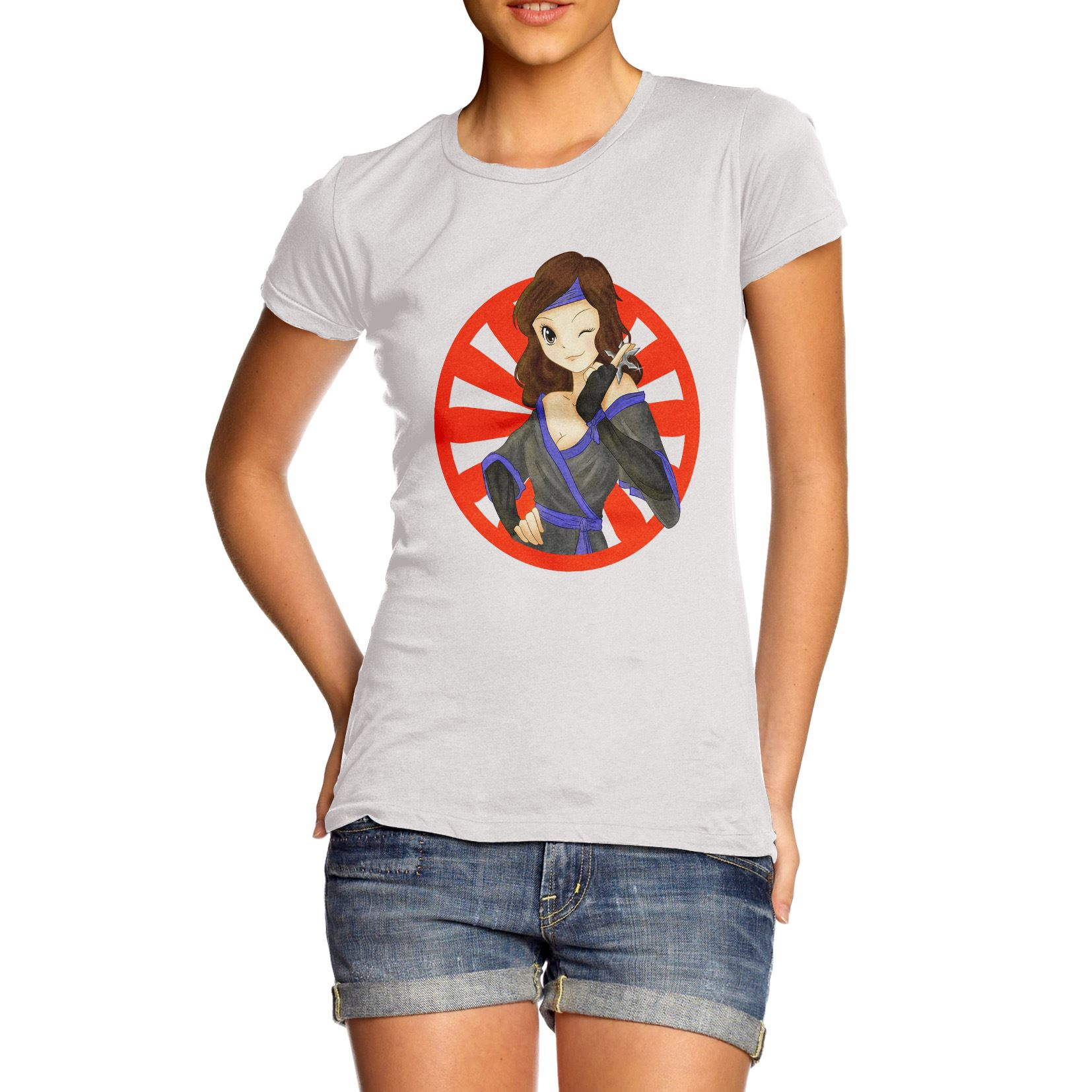 Womens Cotton Novelty Design Funny Gift Idea Anime Ninja
