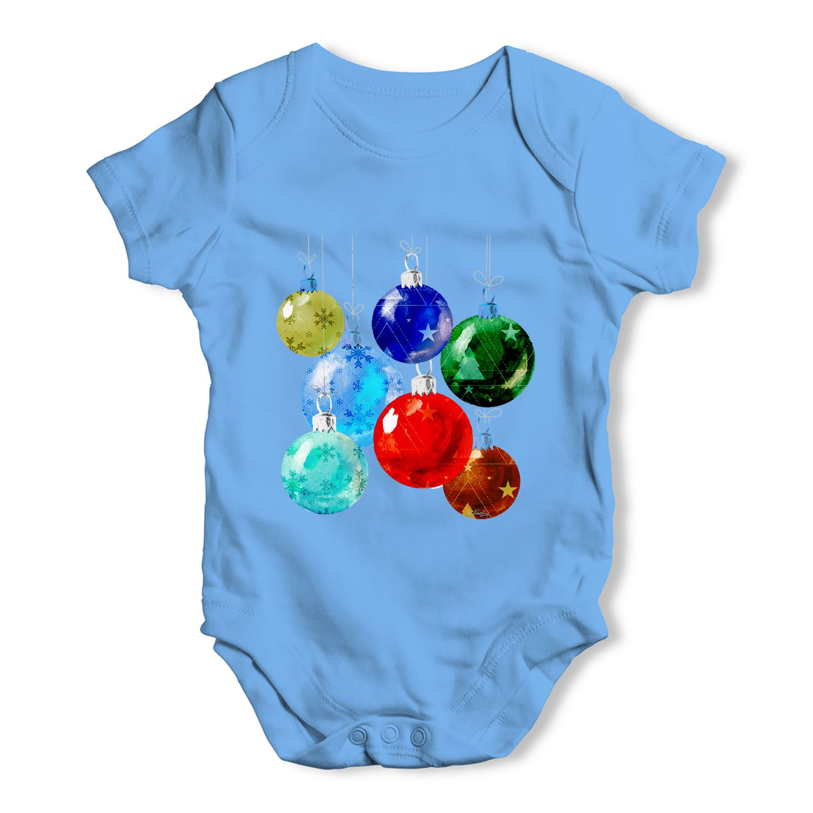 twisted envy christmas baubles baby unisex funny baby grow bodysuit