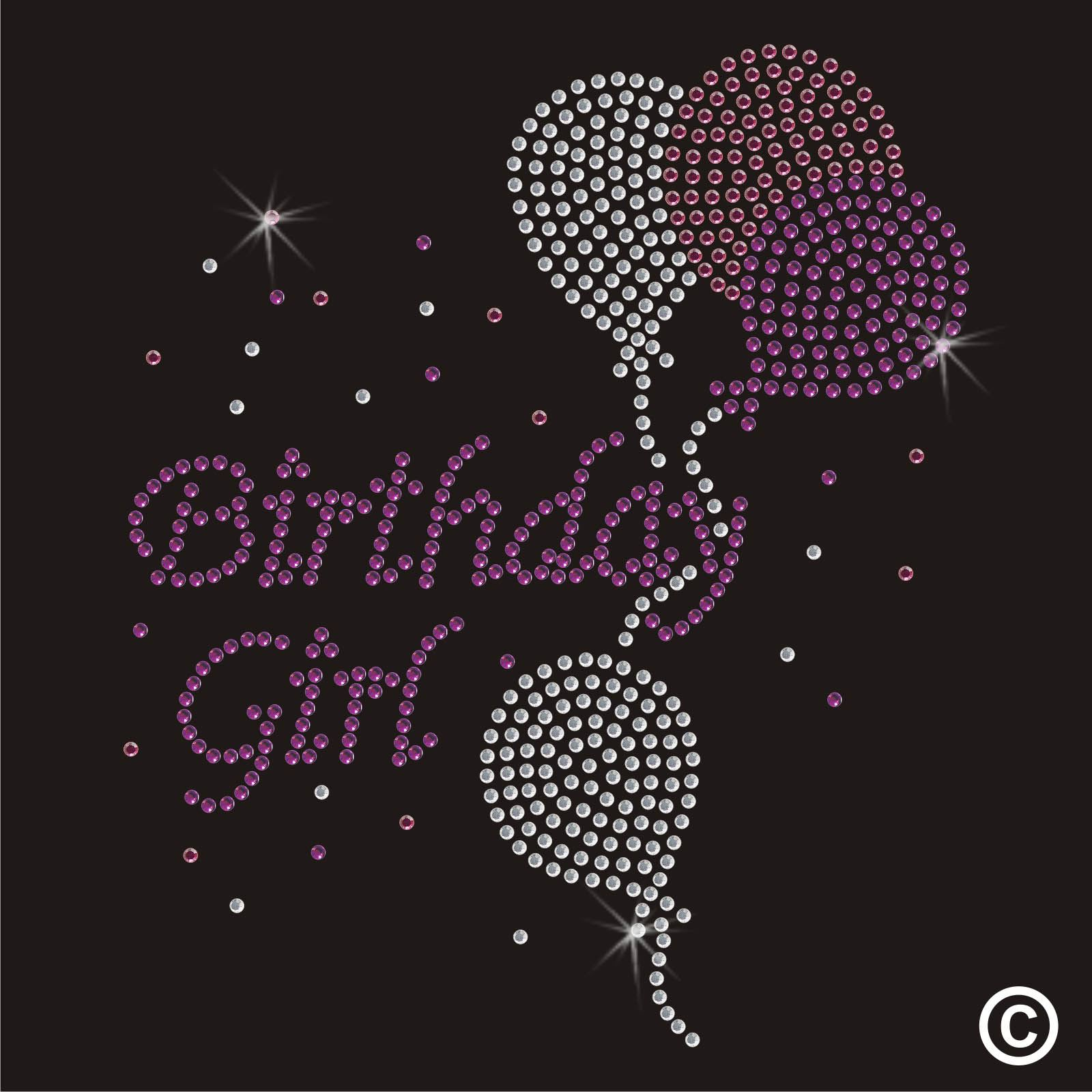 Rhinestone Iron On Transfer Birthday Girl Diamante Crystal