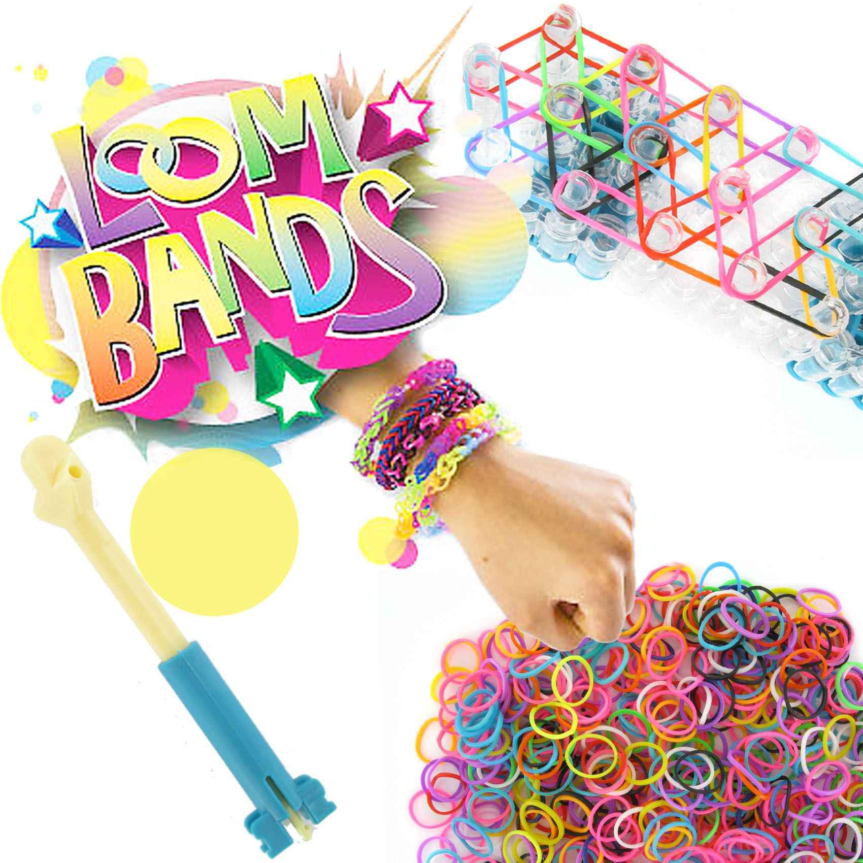 Colourful Rainbow Loom Rubber Bands Bracelet Making Kit