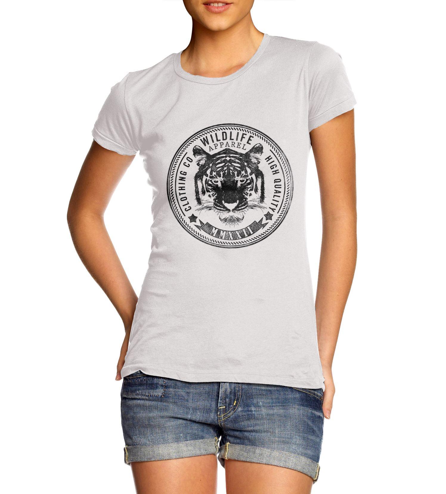 Womens Tiger Face Wildlife Clothing Co T Shirt Ebay