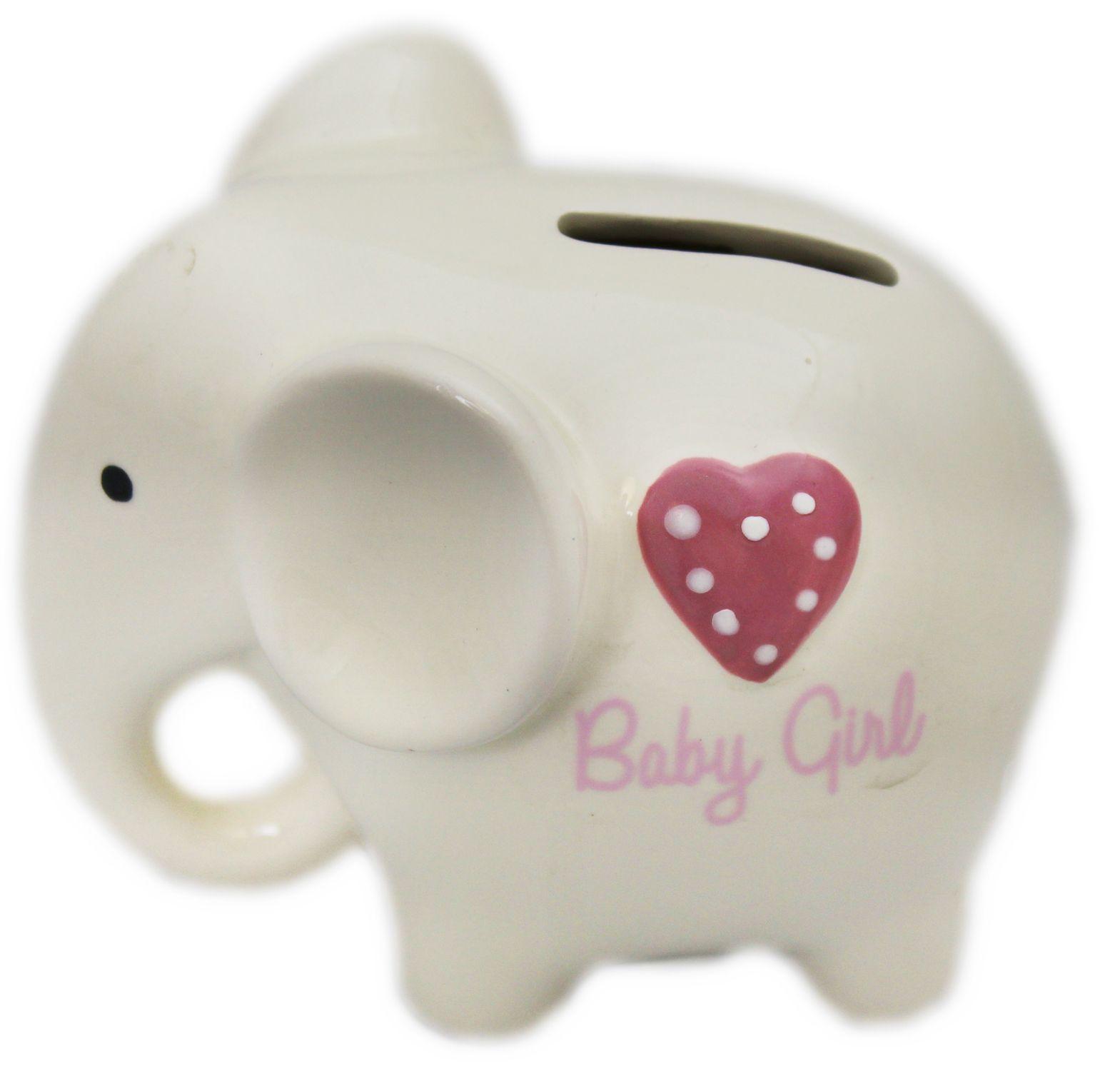Glazed ceramic baby elephant money box piggy bank baby girl pink heart ebay - Ceramic elephant piggy bank ...