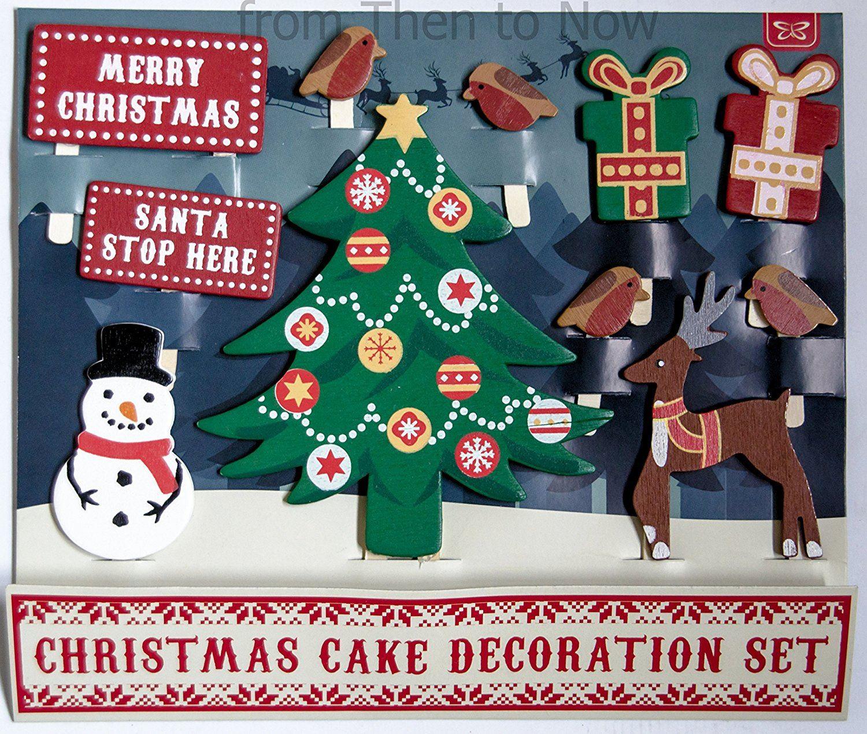 Wooden Christmas Cake Decoration Set eBay