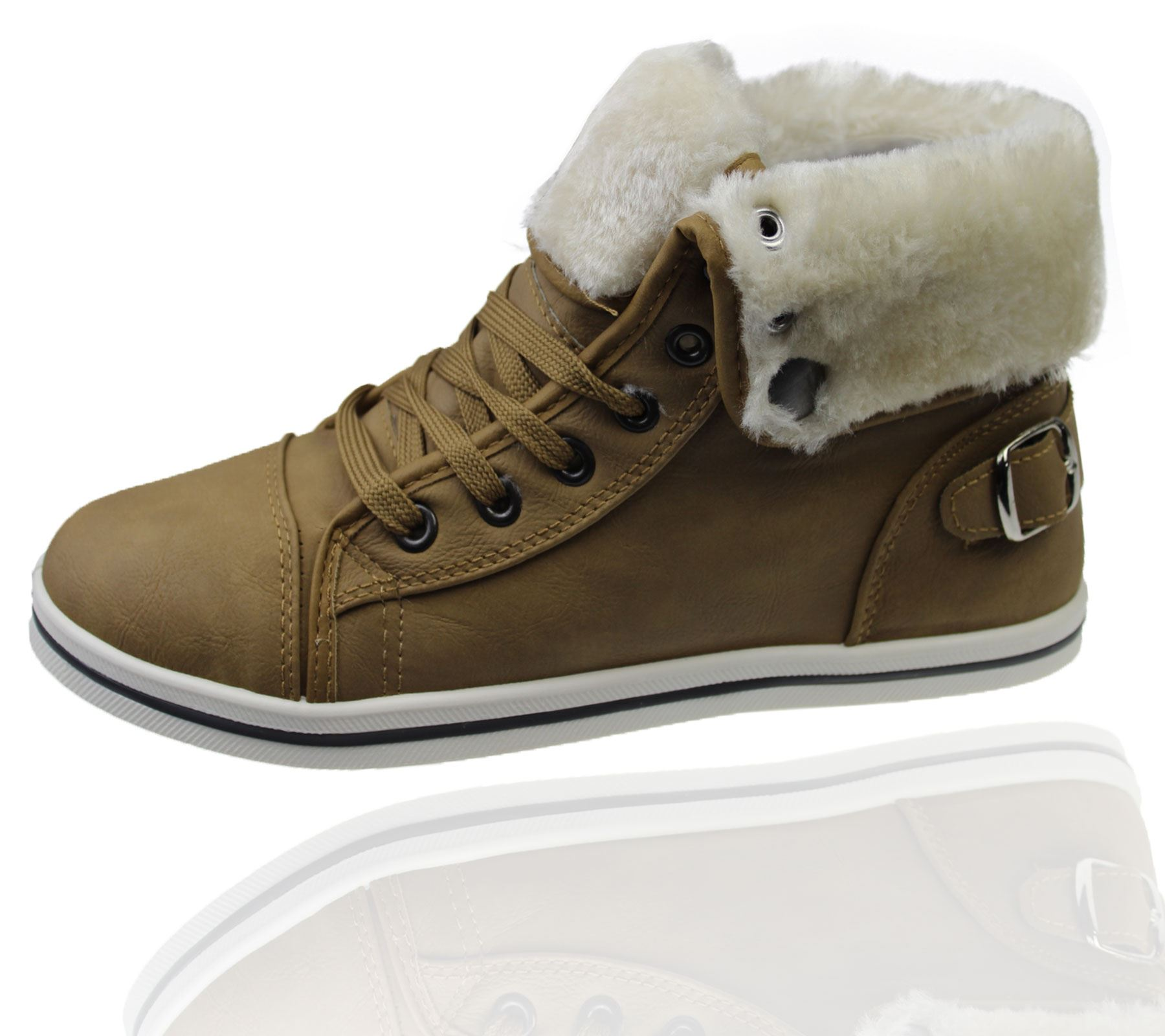 Womens Warm Lined Boots High Top Ankle Ladies Trainer ...