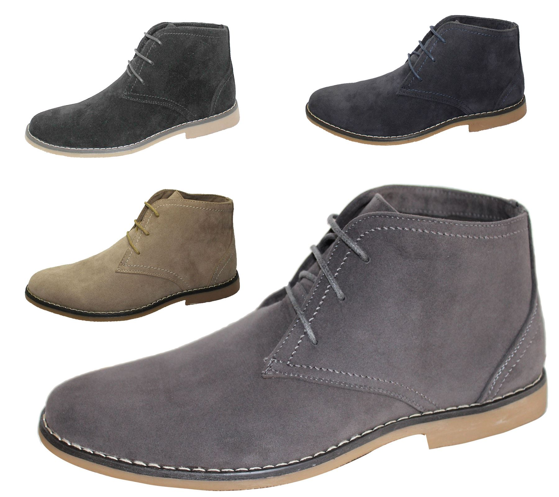 Mens Synthetic Suede Desert Boots Casual Lace Up Winter Ankle ...