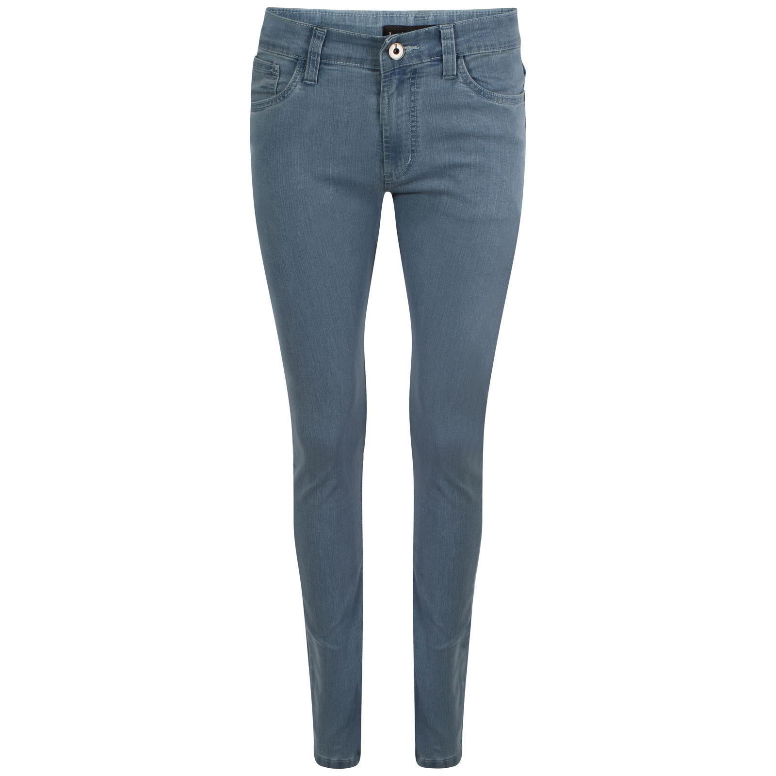 The denim look knit fabric is a rayon/lycra blend, which makes it very soft and stretchy despite its sturdy denim style appearance. The backside of the fabric is lighter in color and has a .