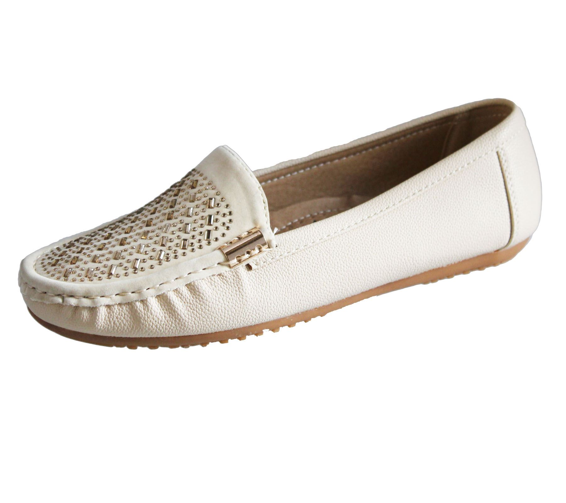 Womens Loafers Flat Casual Comfort Ladies Diamante Summer ...