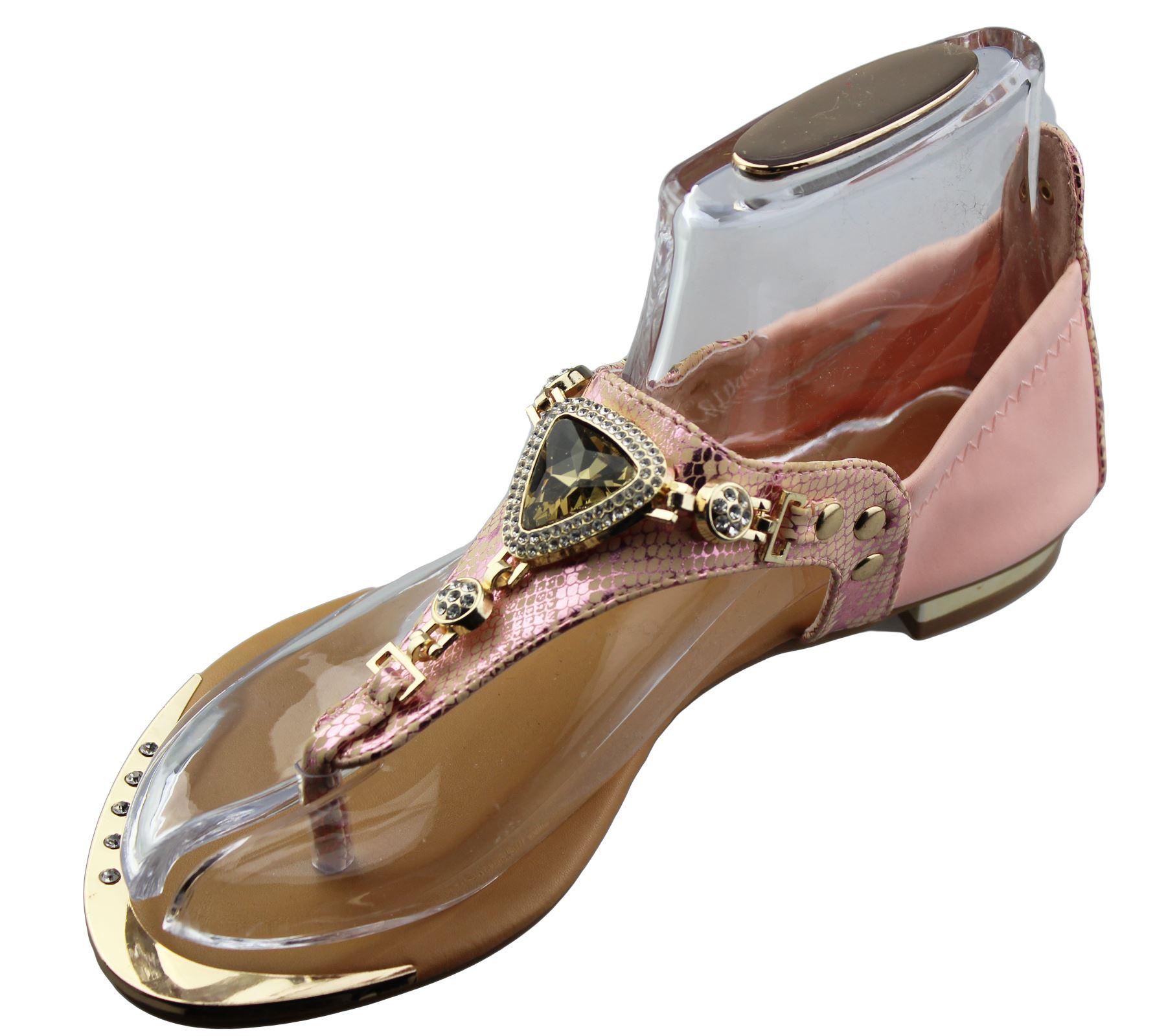 Womens Flat Sandals Ladies Diamante Summer Wedding Shoes ...