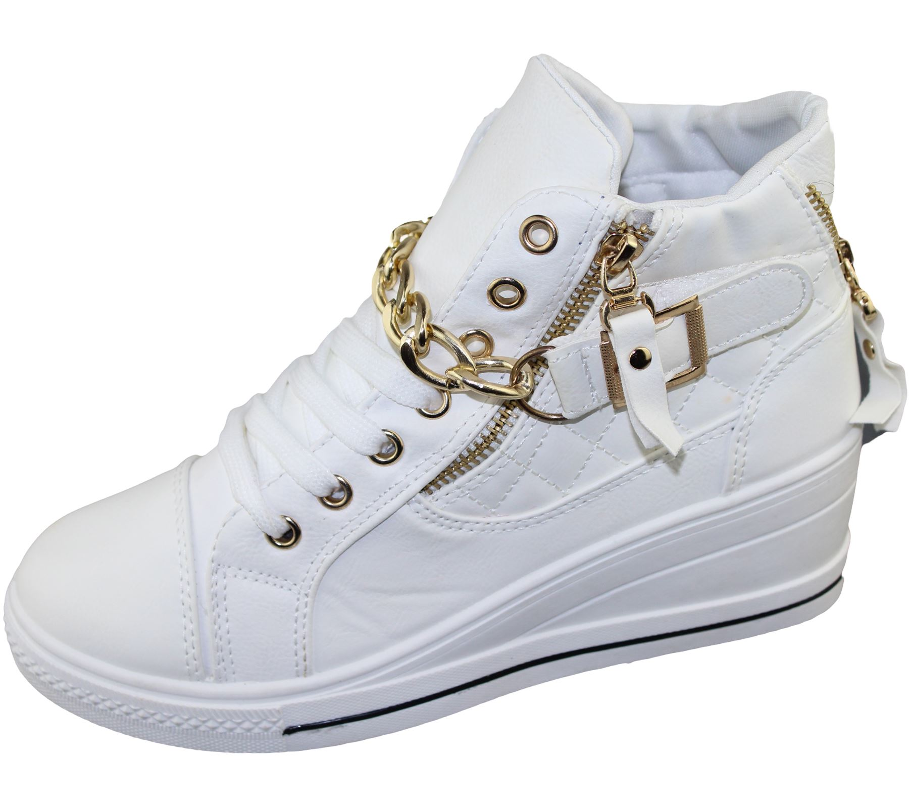 Womens Wedge Trainers Ladies Quilted Ankle Boots Sneakers ...