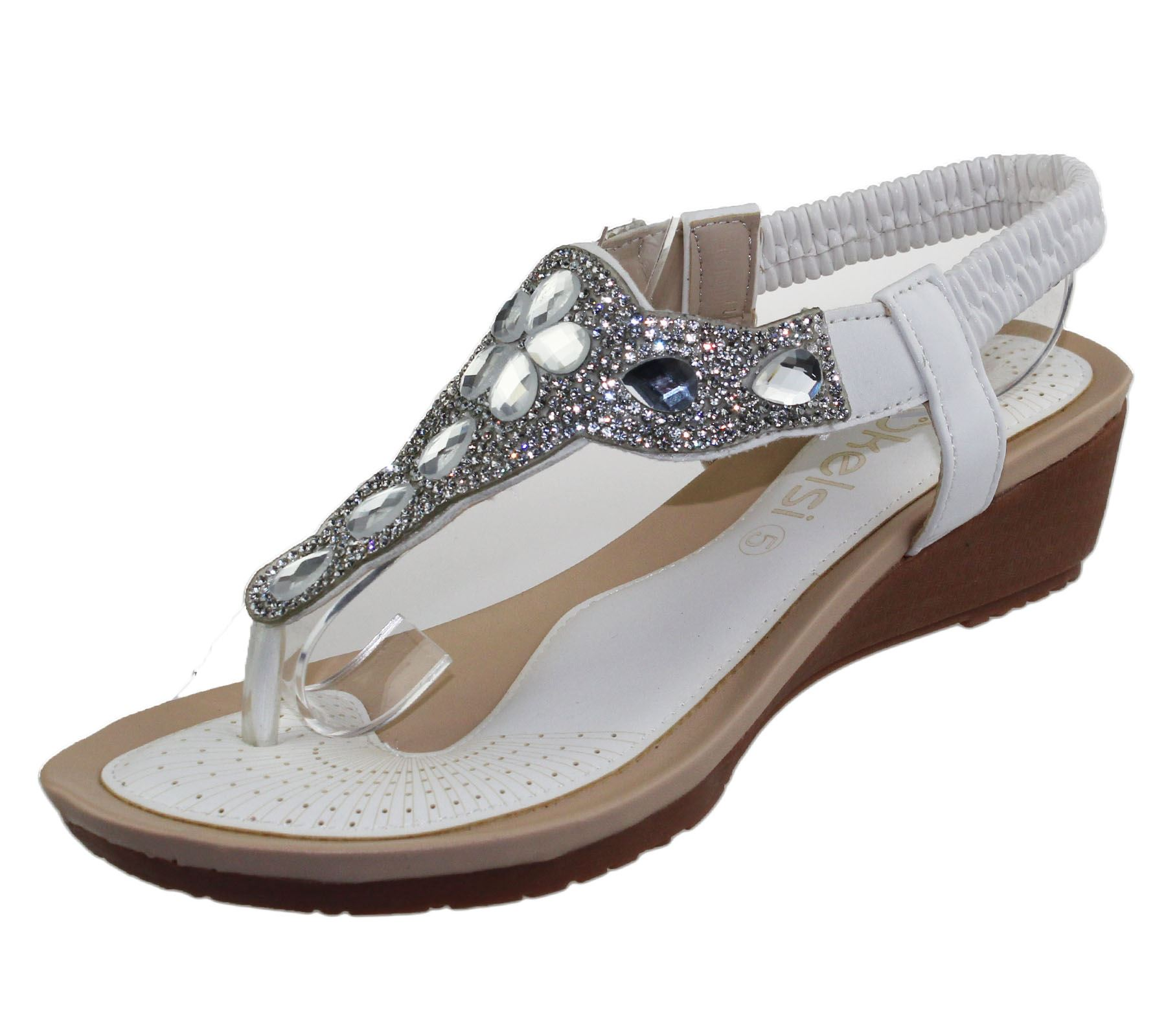 acfdf83b8d03 Womens Wedge Heel Sandals Ladies Diamante Toe Post Summer Beach ...