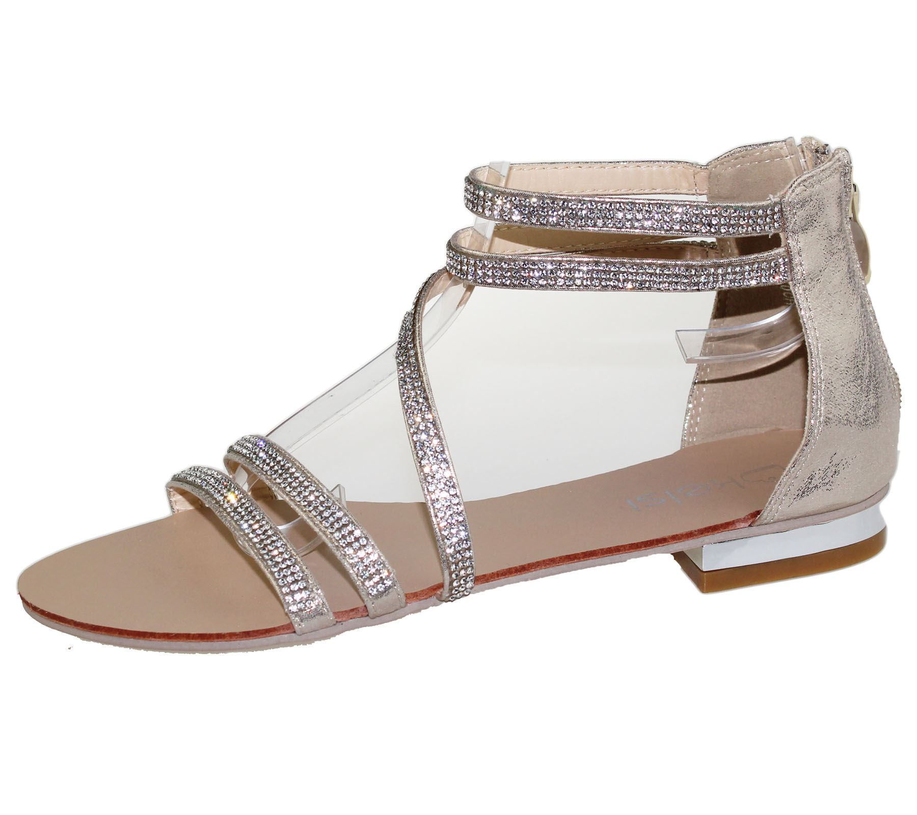 womens flat sandals diamante open toe summer
