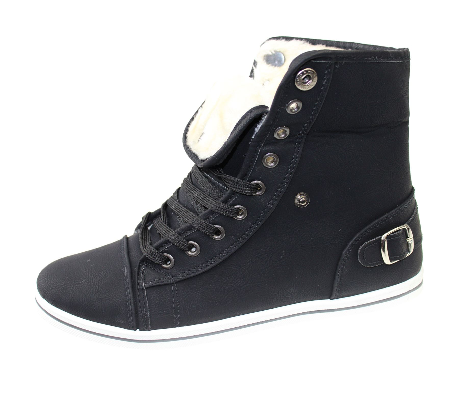 Girls-Boots-Womens-Warm-Lined-High-Top-Ankle-Trainer-Ladies-Winter-Shoes-Size miniatura 80