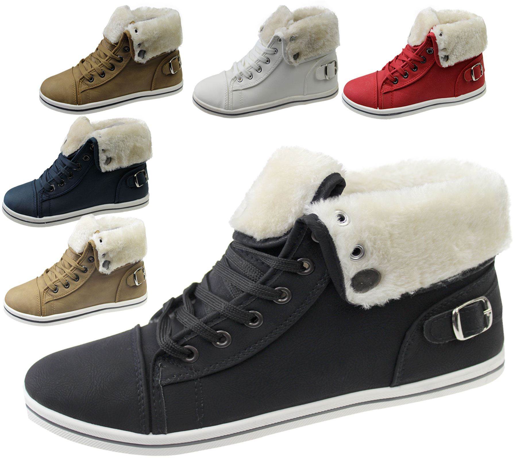 Girls-Boots-Womens-Warm-Lined-High-Top-Ankle-Trainer-Ladies-Winter-Shoes-Size miniatura 104