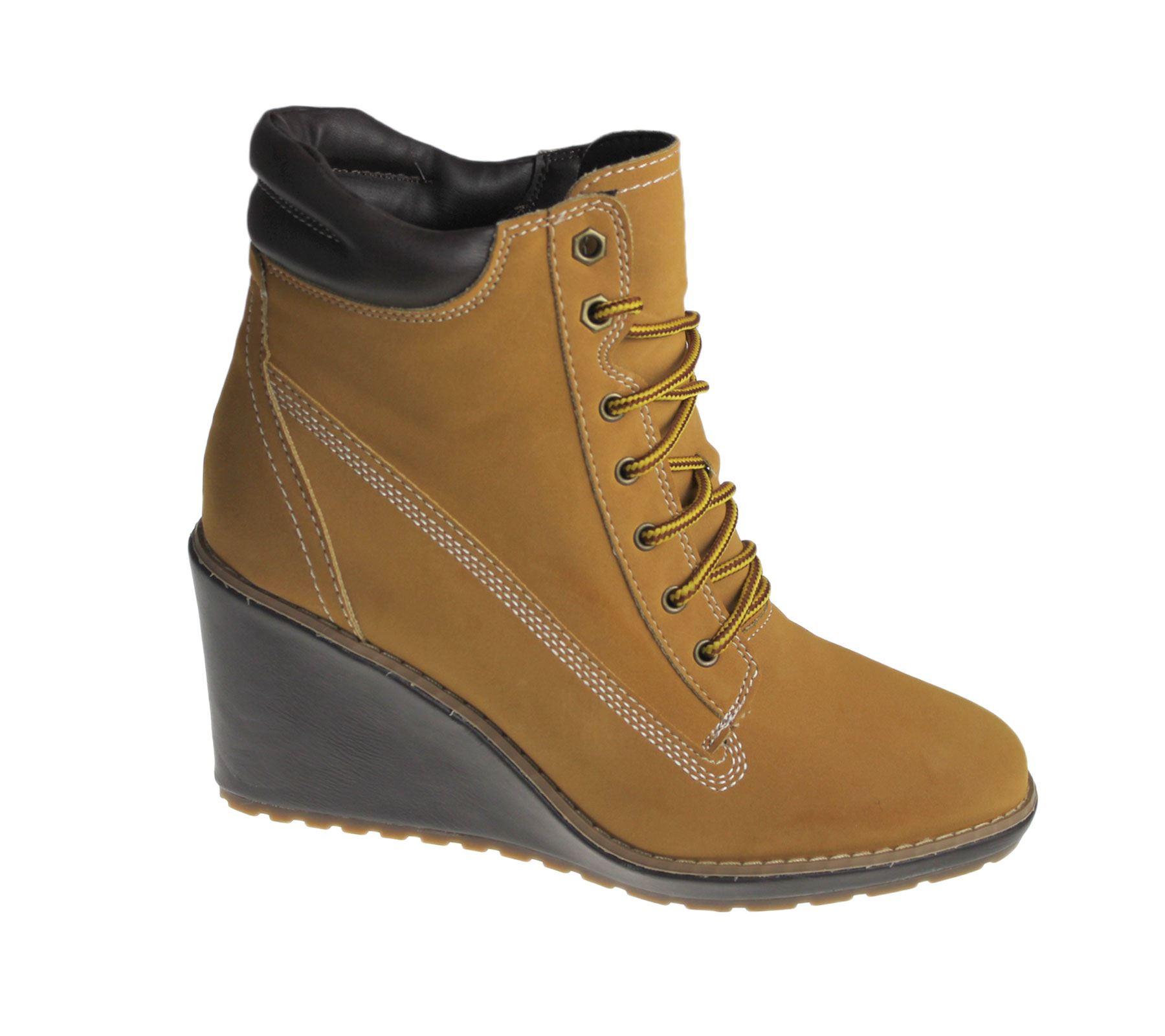 Womens Wedge Heel Boots Ladies High Top Desert Winter