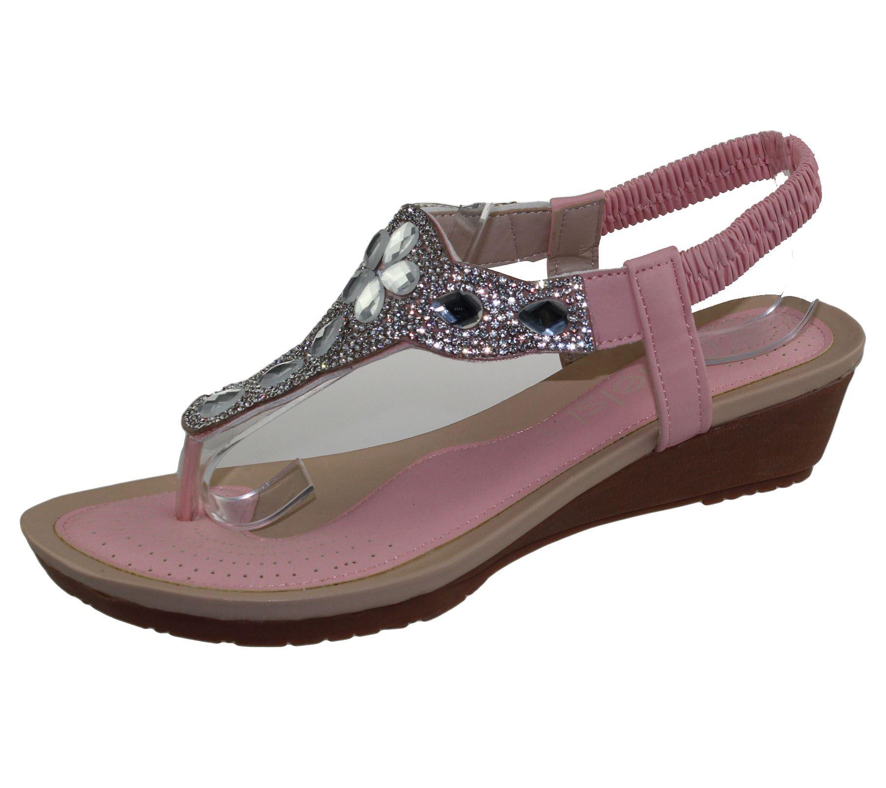Womens Diamante Sandals Ladies Summer Wedge Heel Toe Post ...