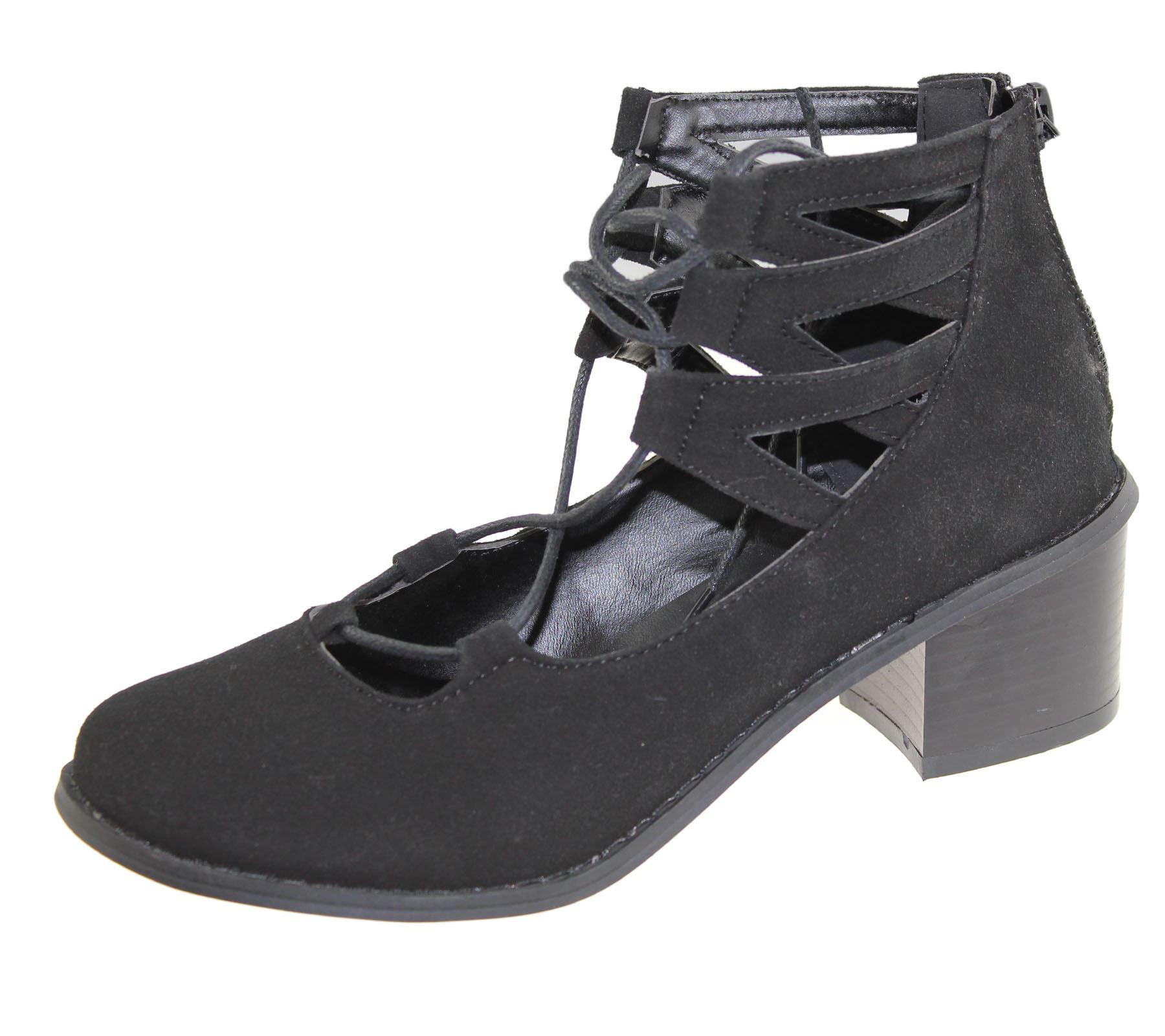 Bloque de Mujer Corte Tacón Bajo Zapatos Con Cordones Sandalias de Verano Señoras Tribunal Zapatos De Oficina