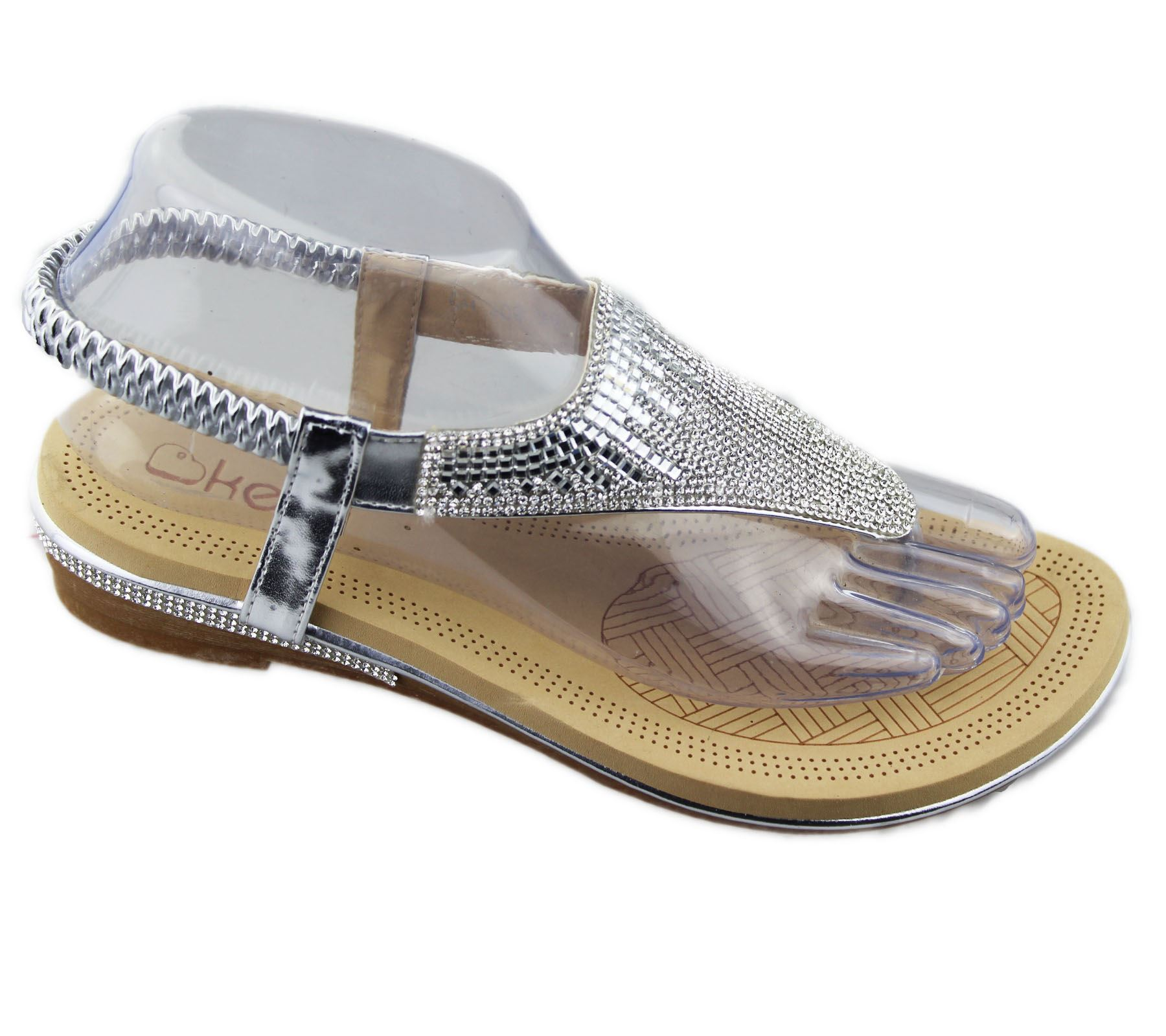 Womens Flat Sandals Ladies Diamante Toe Post Summer