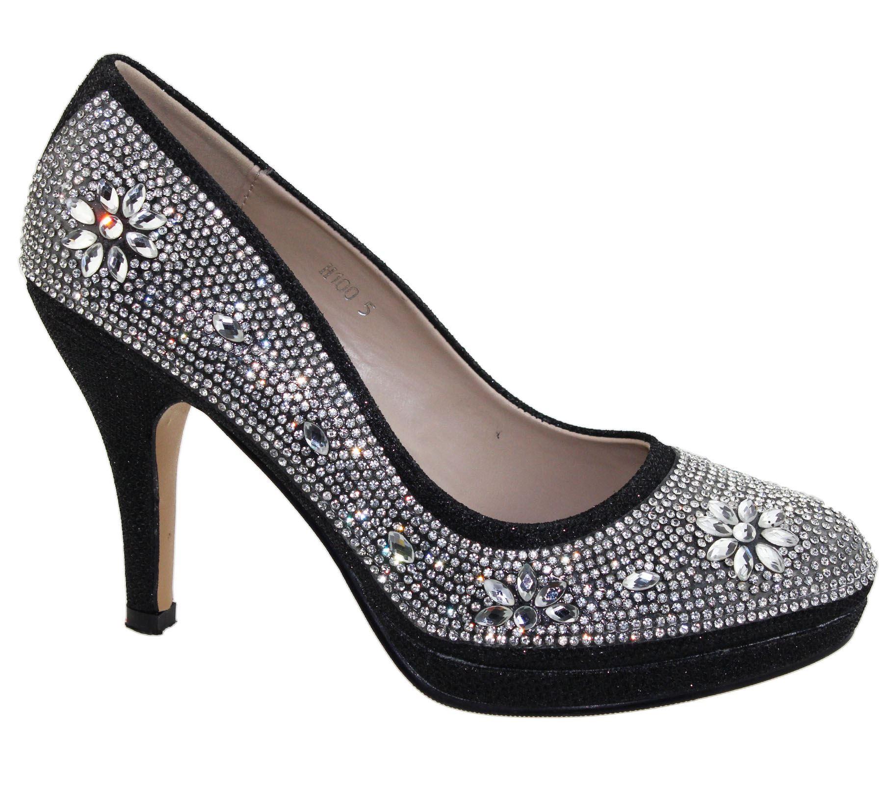 Womens-Platforms-High-Heels-Wedding-Bridal-Evening-Diamante-Ladies-Party-Shoes miniatura 5