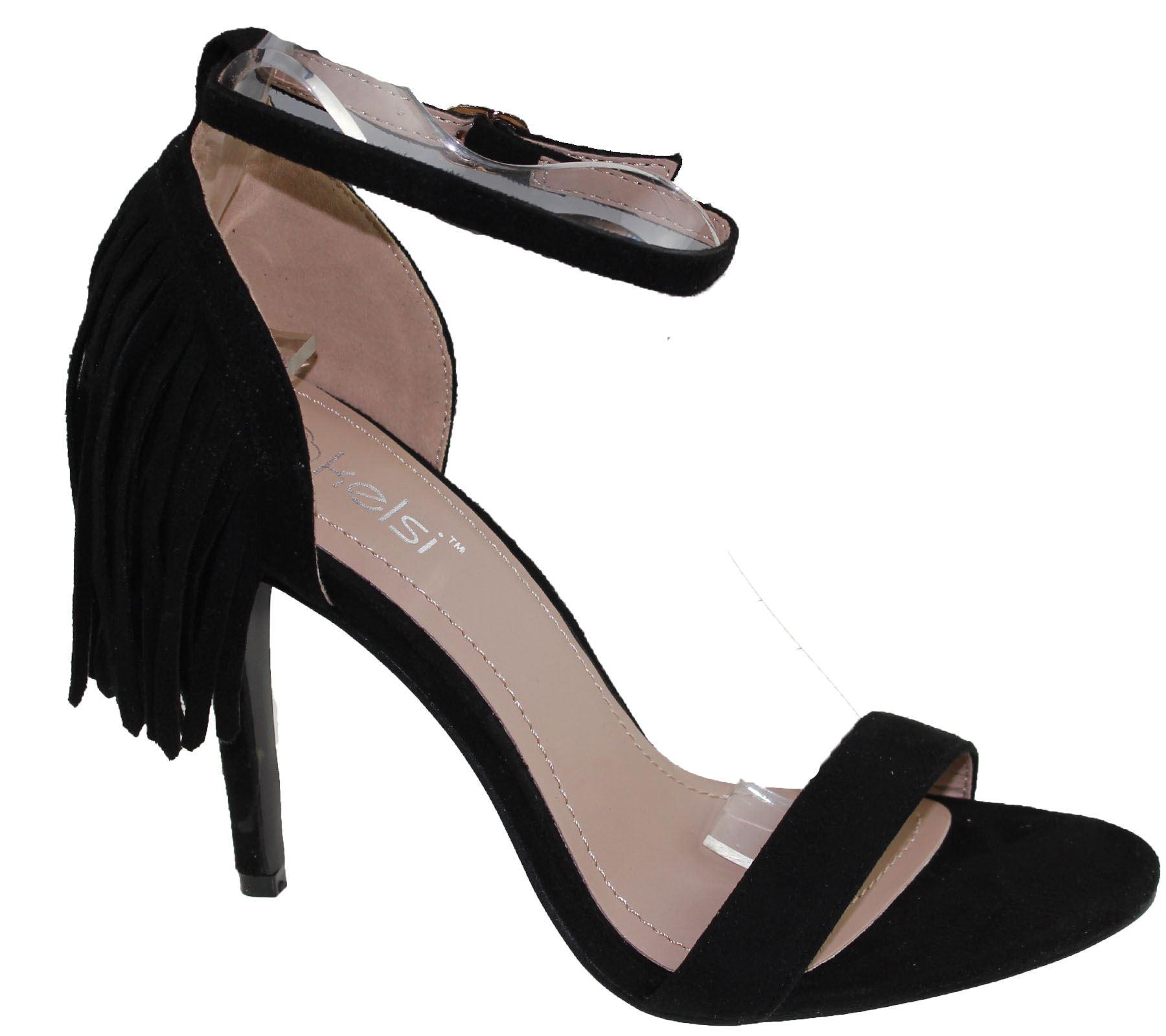 Sandalias de Mujer Stiletto Tacón alto puntera abierta con borlas Damas Zapatos De Tobillo De Verano